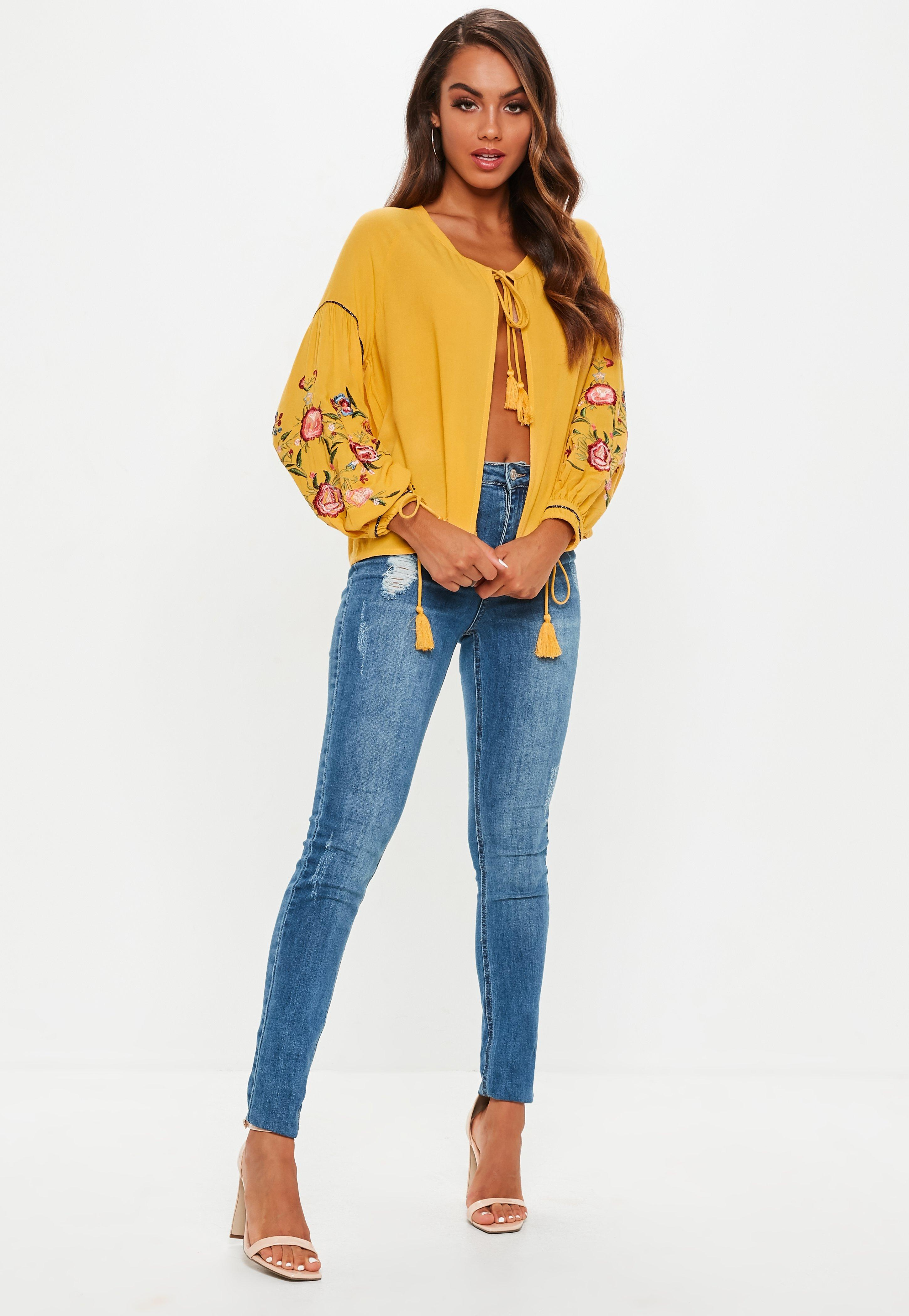 8b5583d6a26399 Lyst - Missguided Mustard Yellow Floral Embroidered Sleeve Tie Front ...