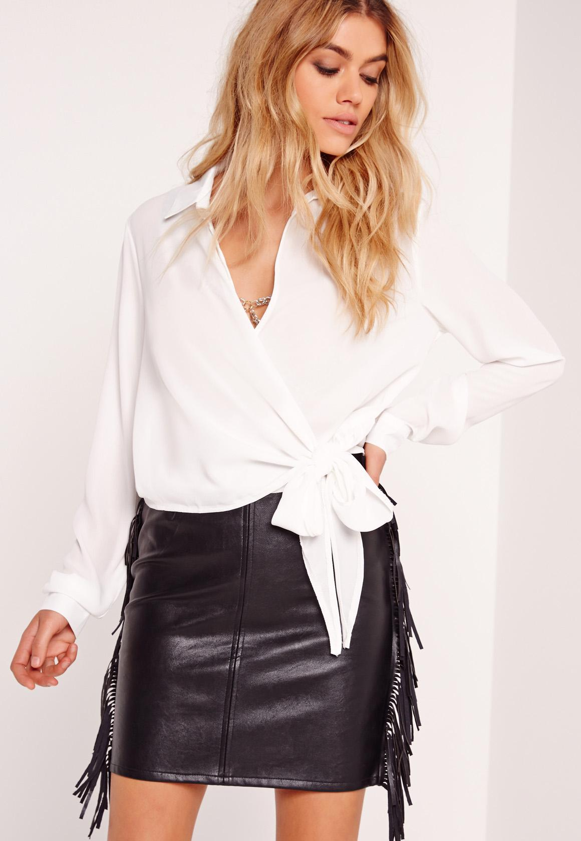 b1d443215dbf6 Missguided - White Wrap Over Tie Side Blouse Ivory - Lyst. View fullscreen