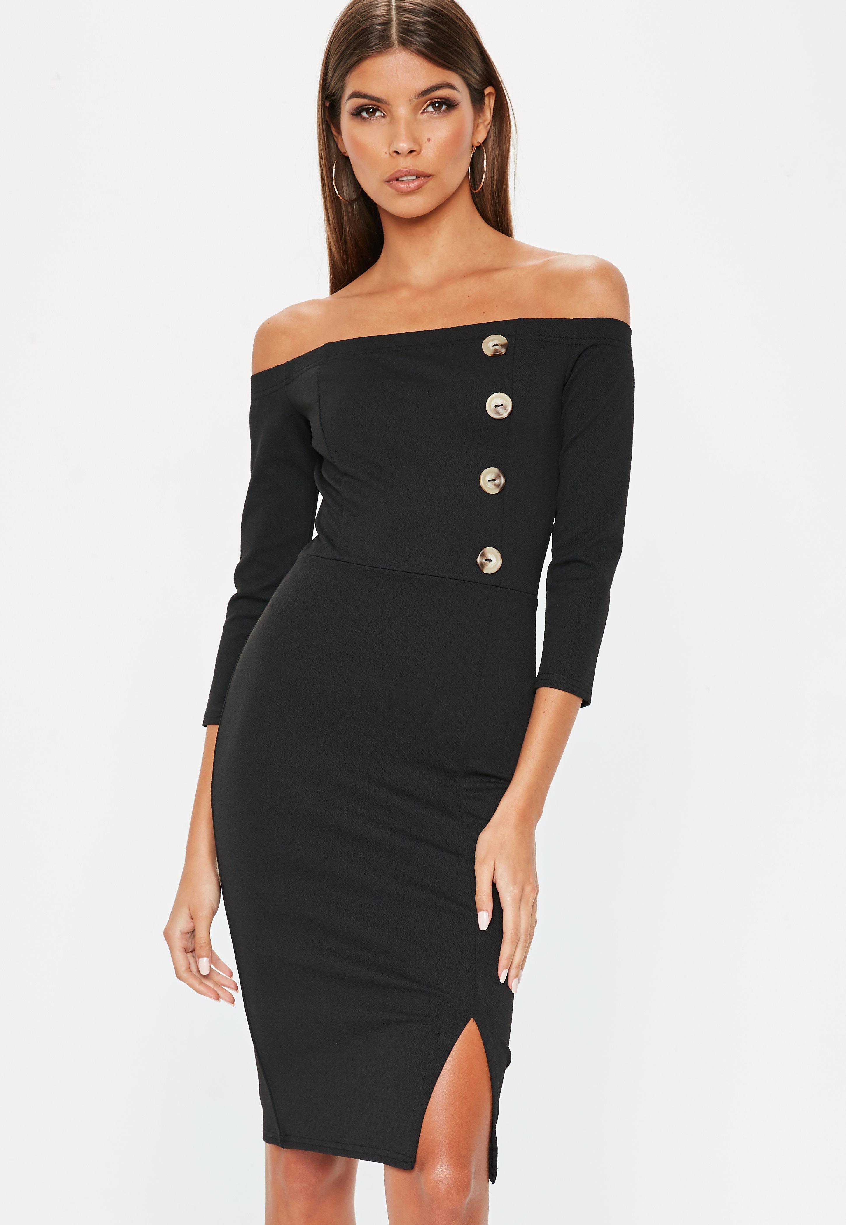 b99ed00b22a2d Lyst - Missguided Black Horn Button Bardot Midi Dress in Black