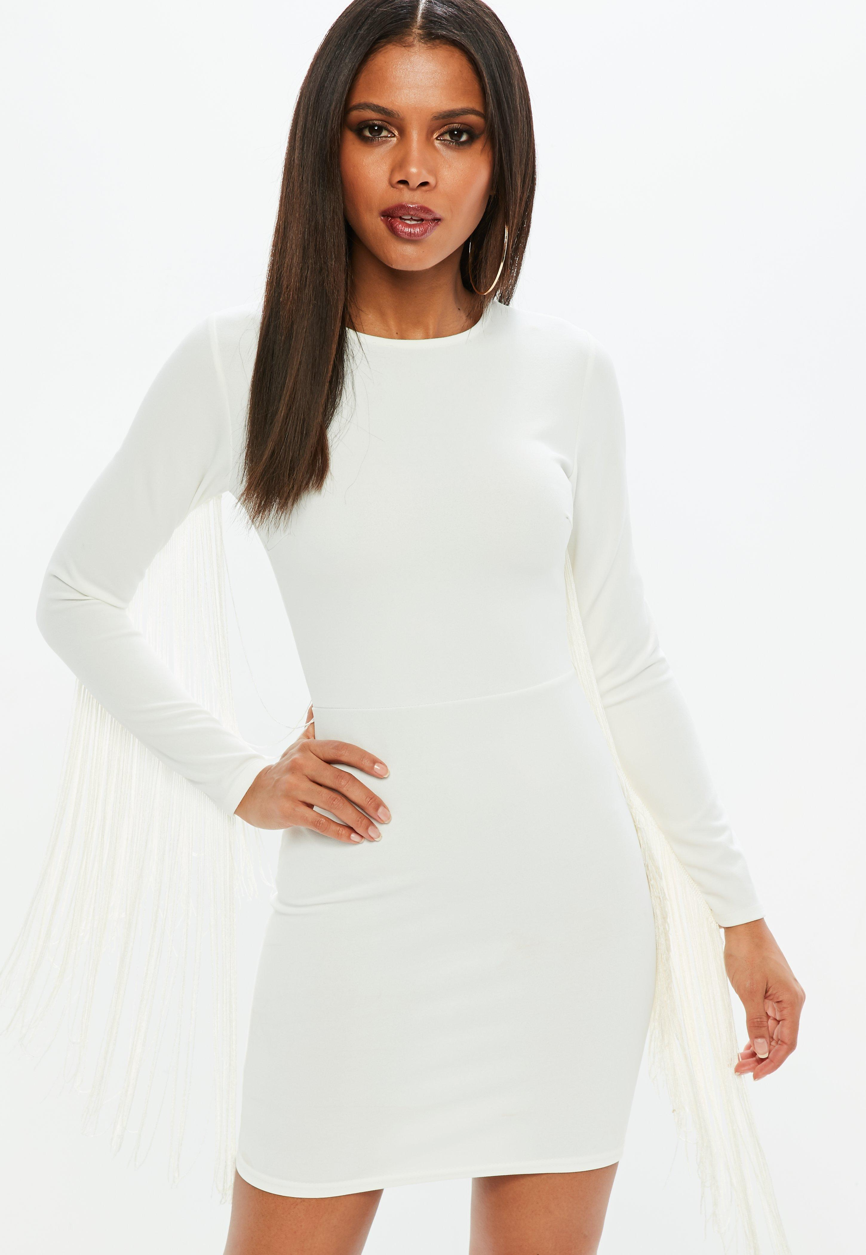 fe326cc49e28 Missguided White Tassel Long Sleeve Bodycon Mini Dress in White - Lyst