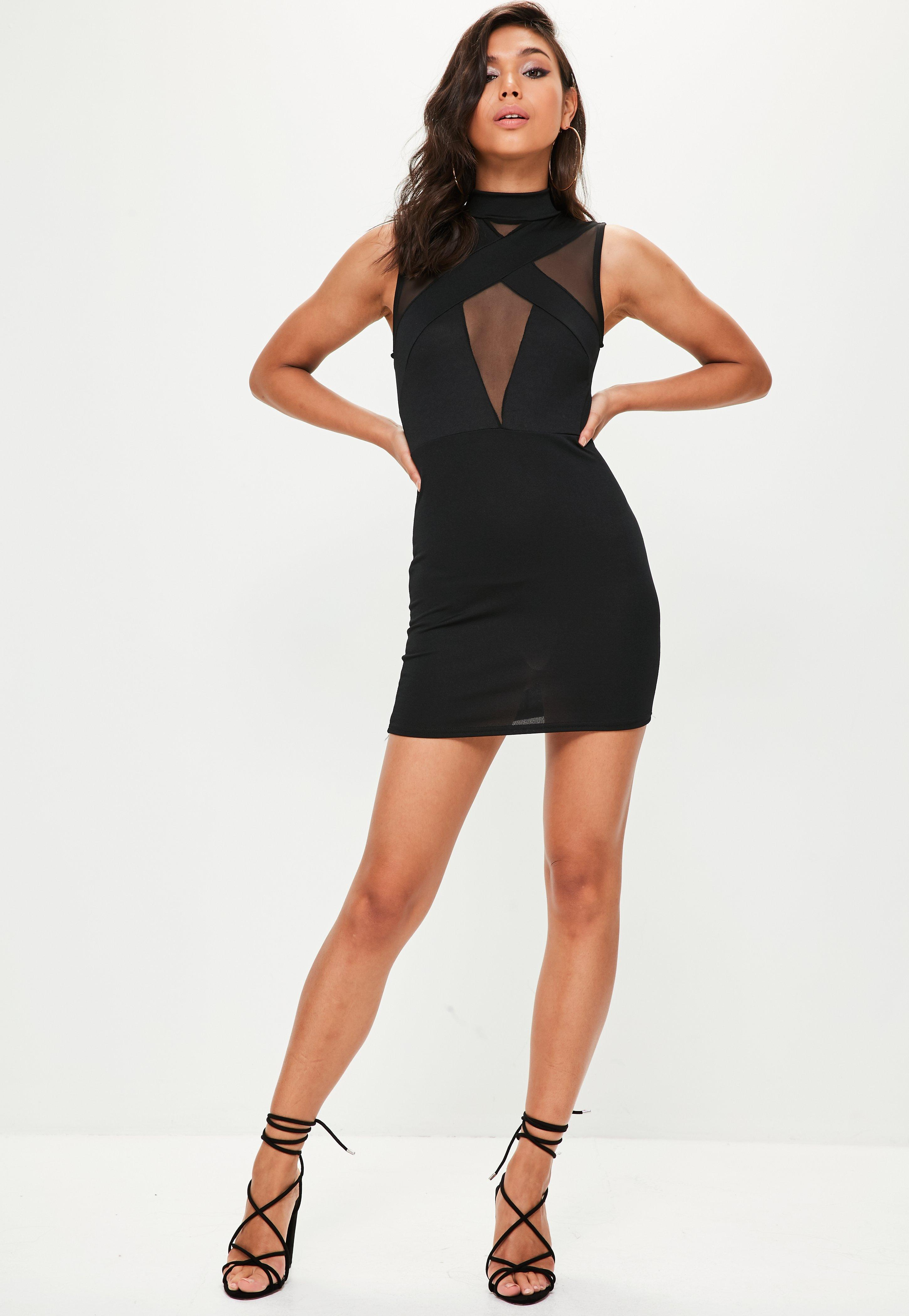 Missguided high neck bodycon dress in black