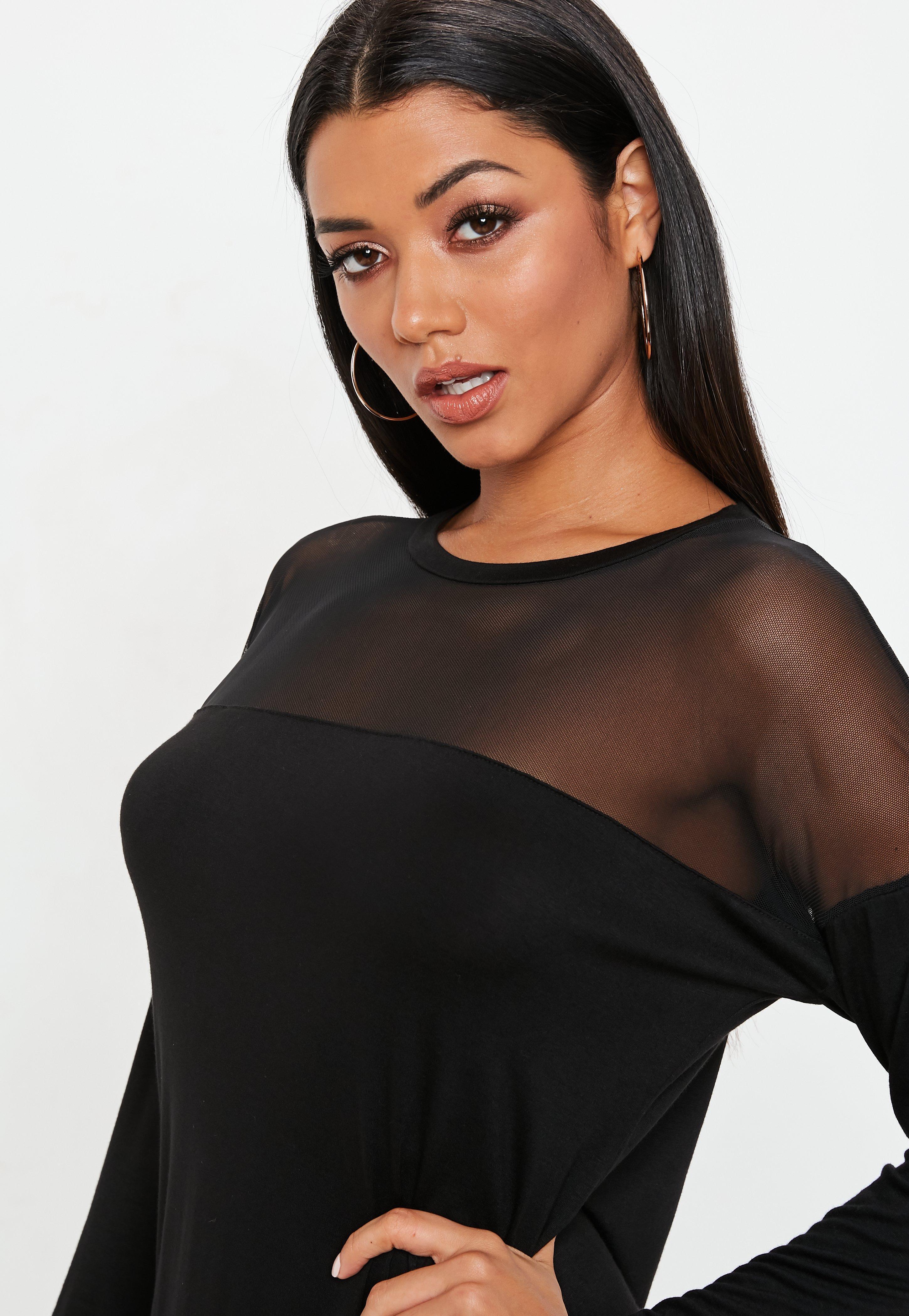 7cf35187 Missguided - Black Mesh Panel Long Sleeve T Shirt Dress - Lyst. View  fullscreen