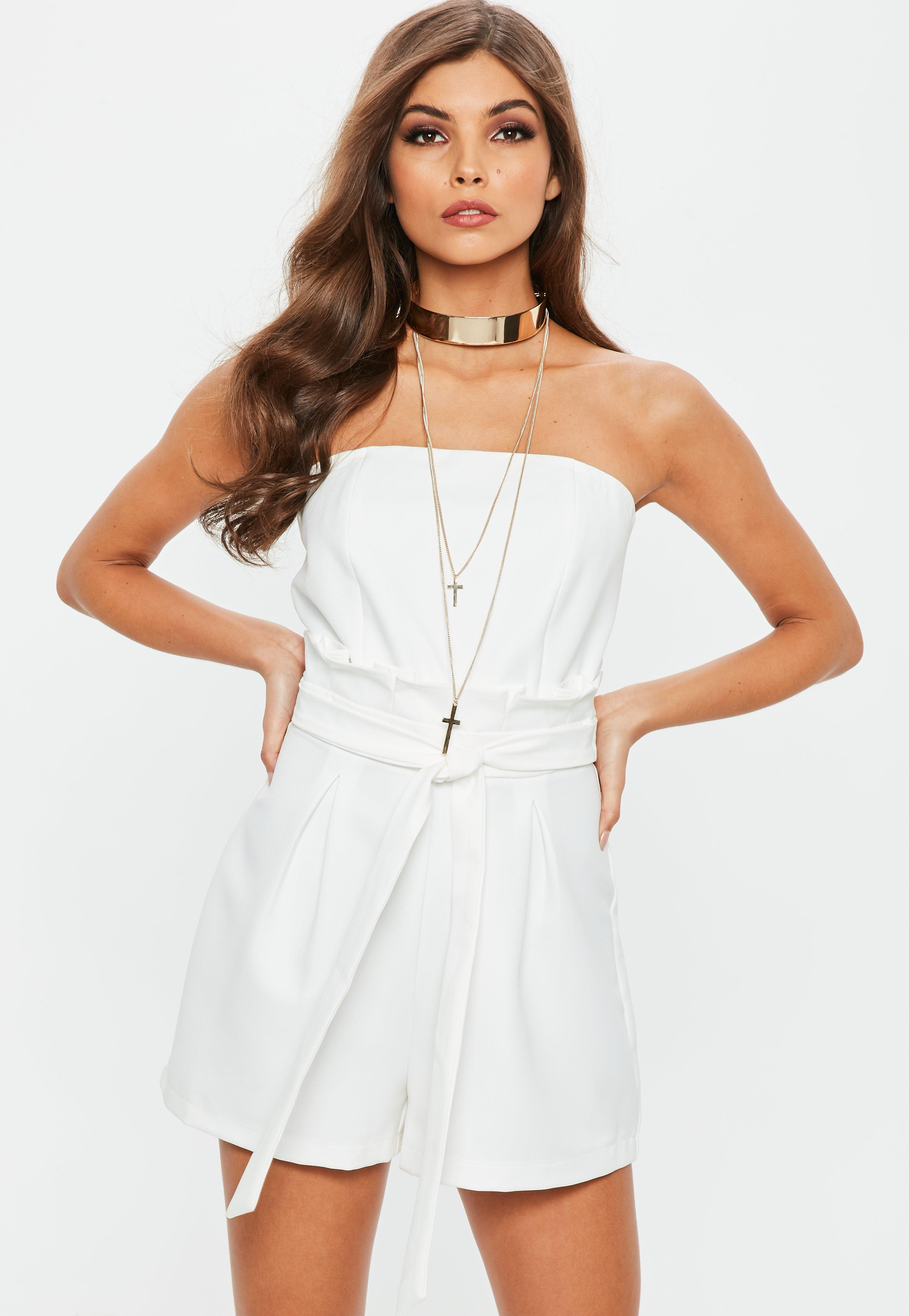 9e82ea07f847 Lyst - Missguided White Paperbag Waist Bandeau Romper in White