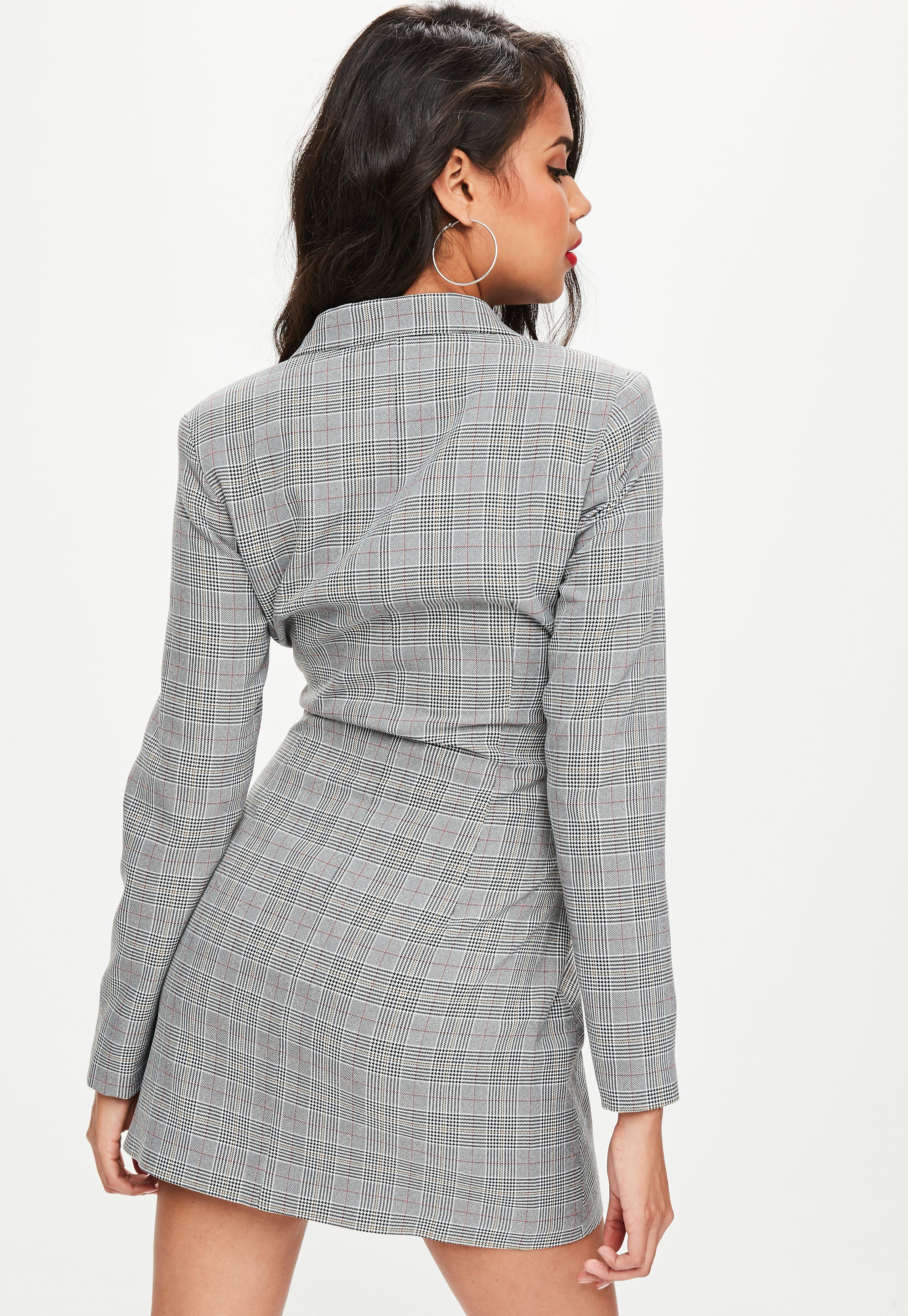 91313f4ddd Missguided Grey Check Belted Blazer Dress in Gray - Lyst