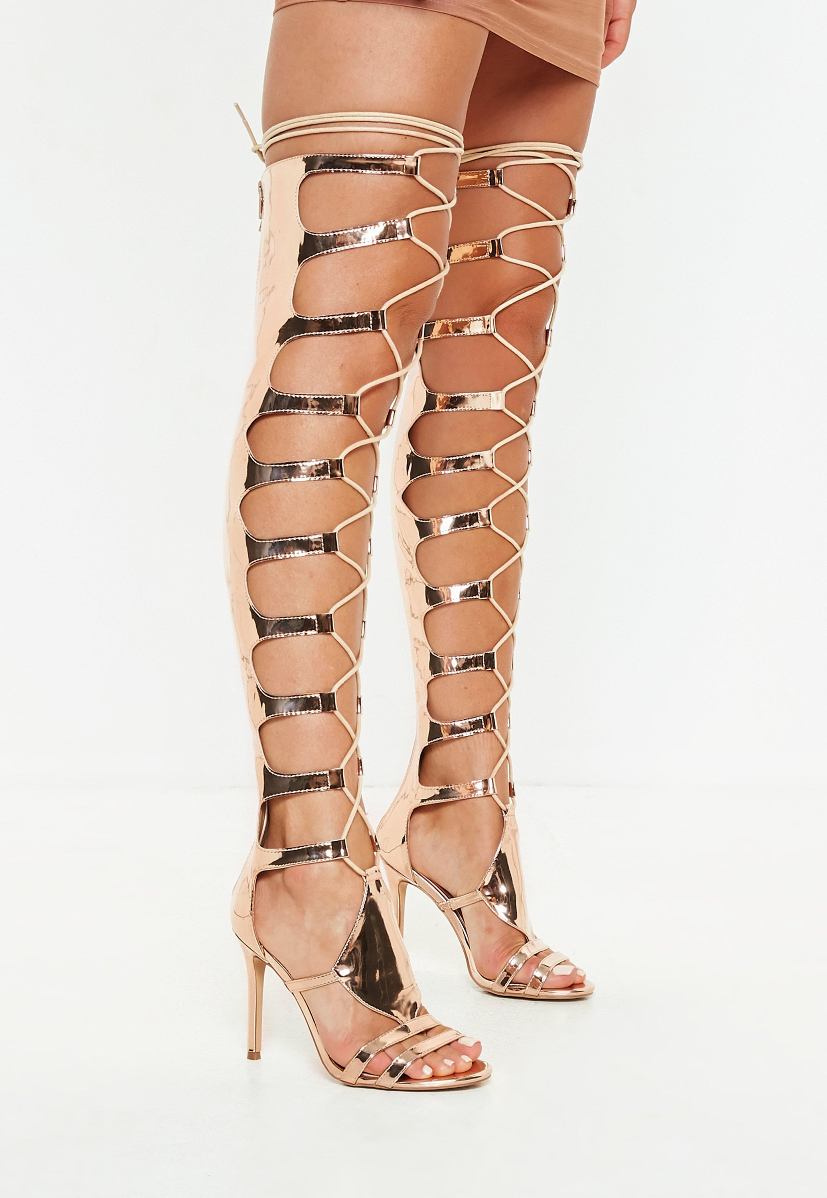 d8d509a32e7 ... Rose Gold High Leg Heeled Gladiator Sandals - Lyst. View fullscreen