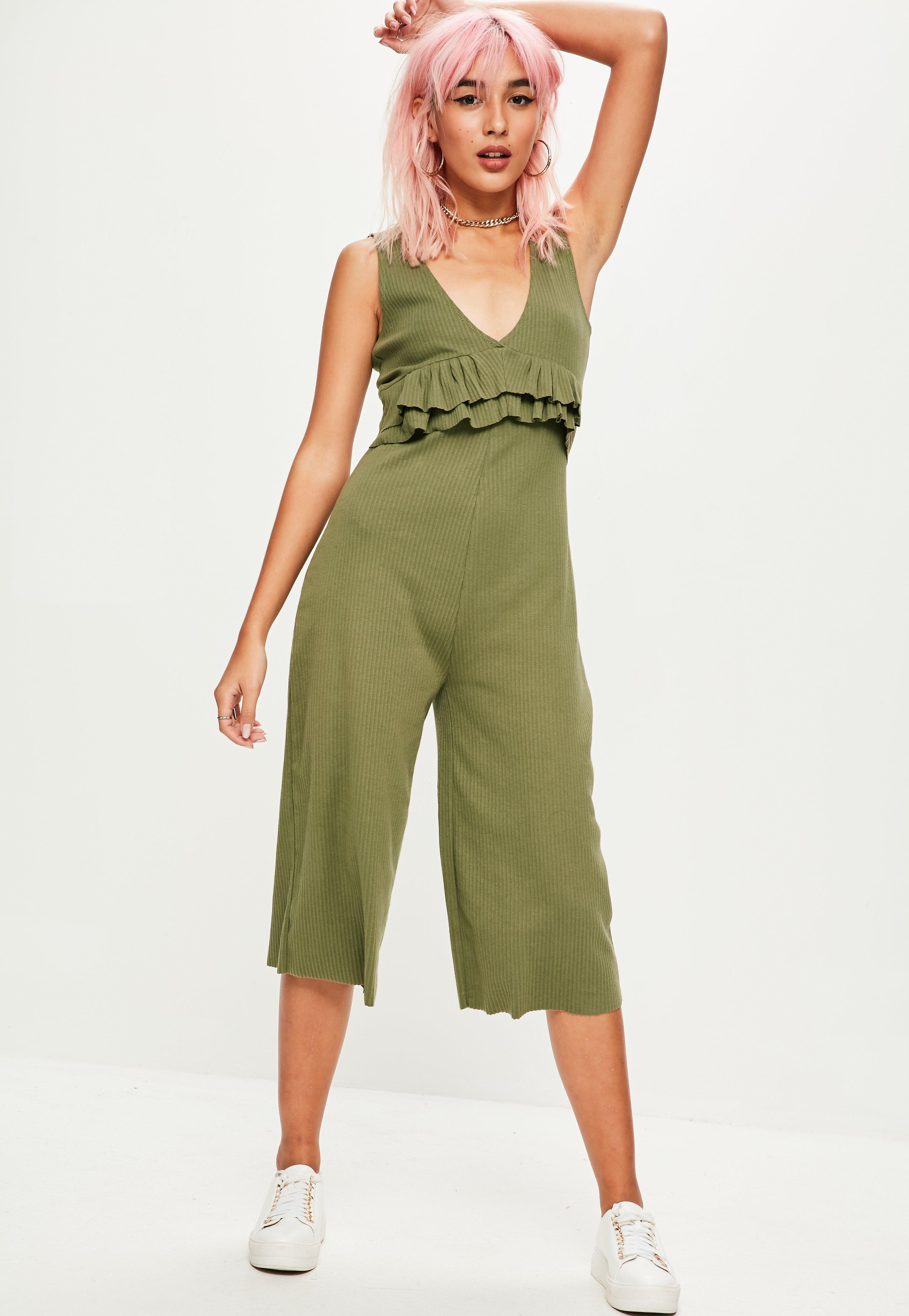 941cd14cbf1 Lyst - Missguided Khaki Ribbed Sleeveless Jumpsuit in Green
