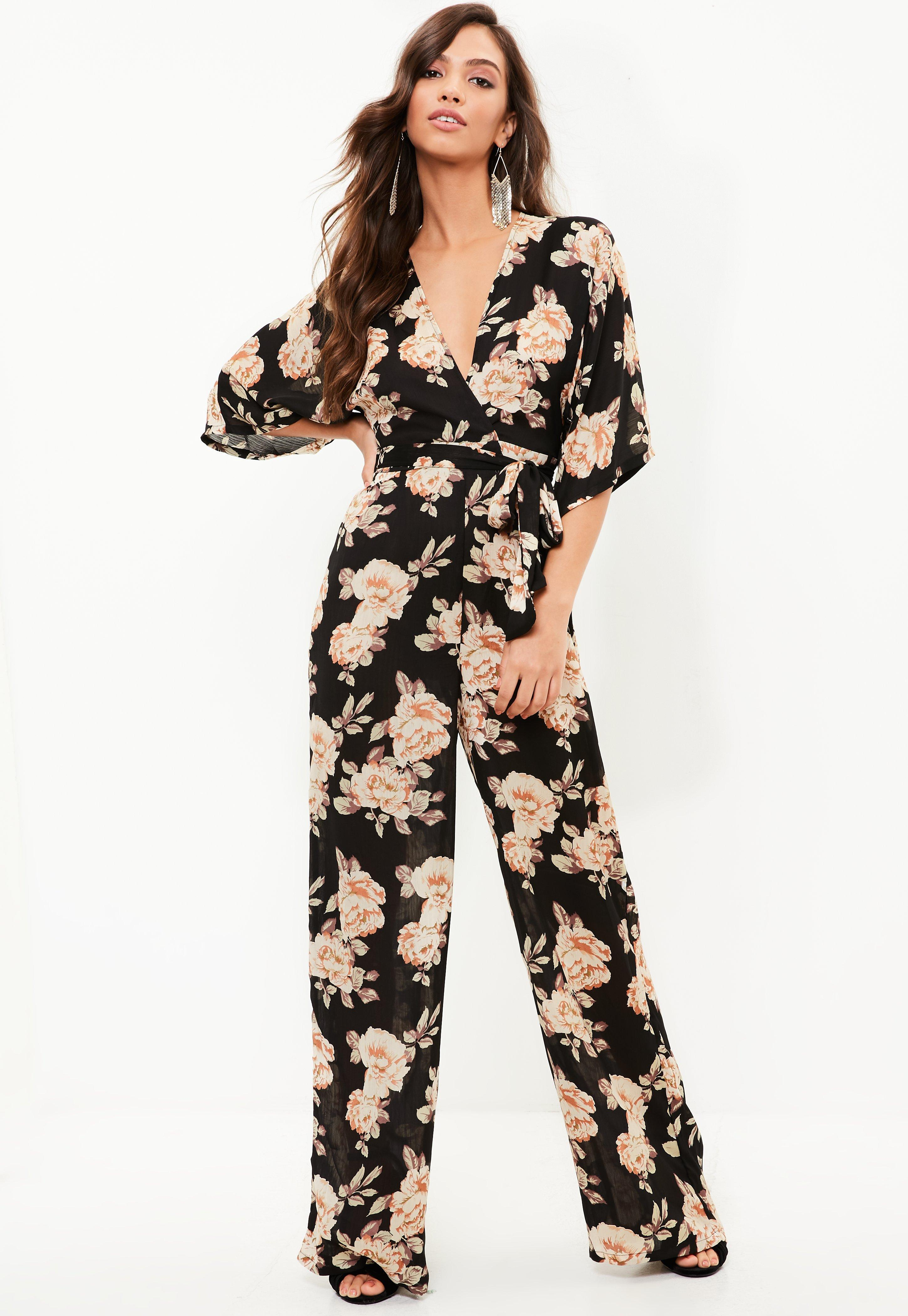 710952eee6f Lyst - Missguided Black Floral Kimono Wide Leg Jumpsuit in Black