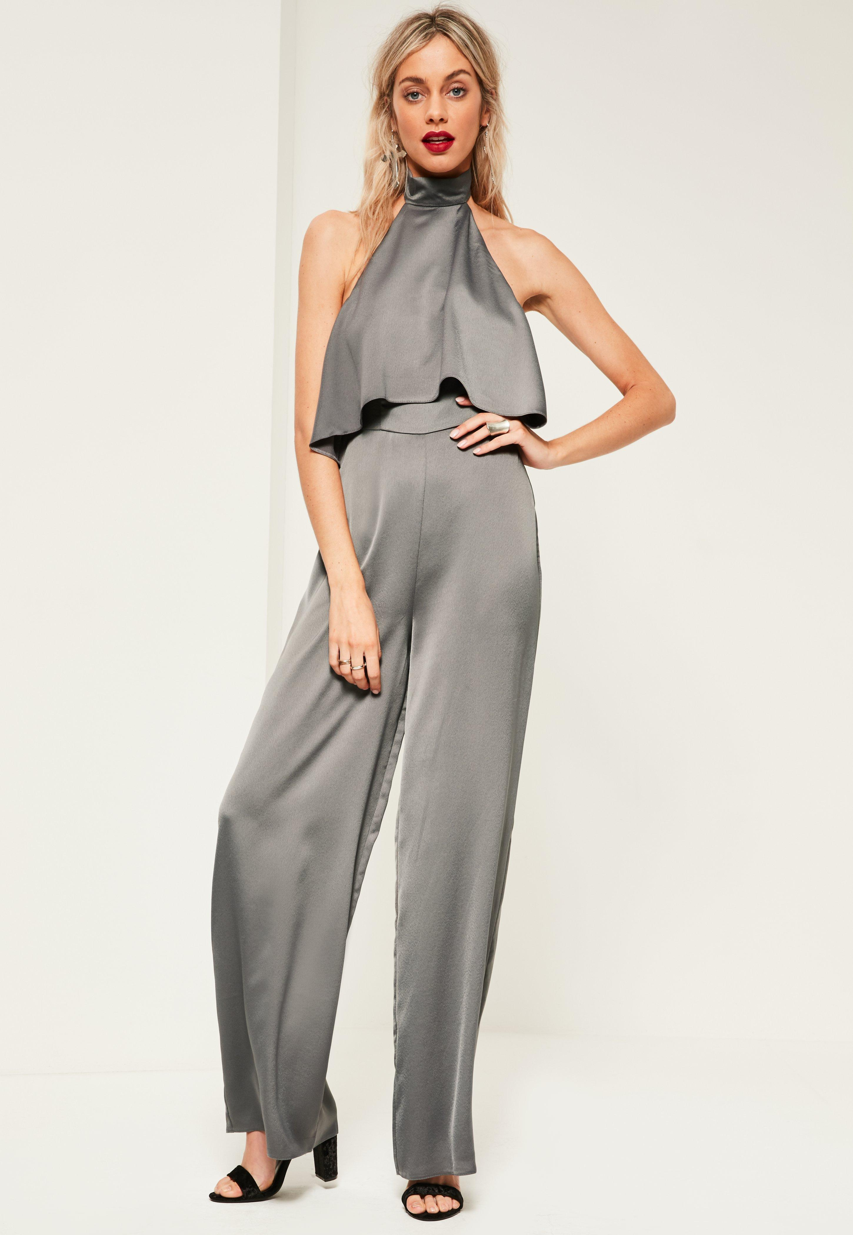 Missguided Grey Double Layer Satin High Neck Jumpsuit in Gray - Lyst