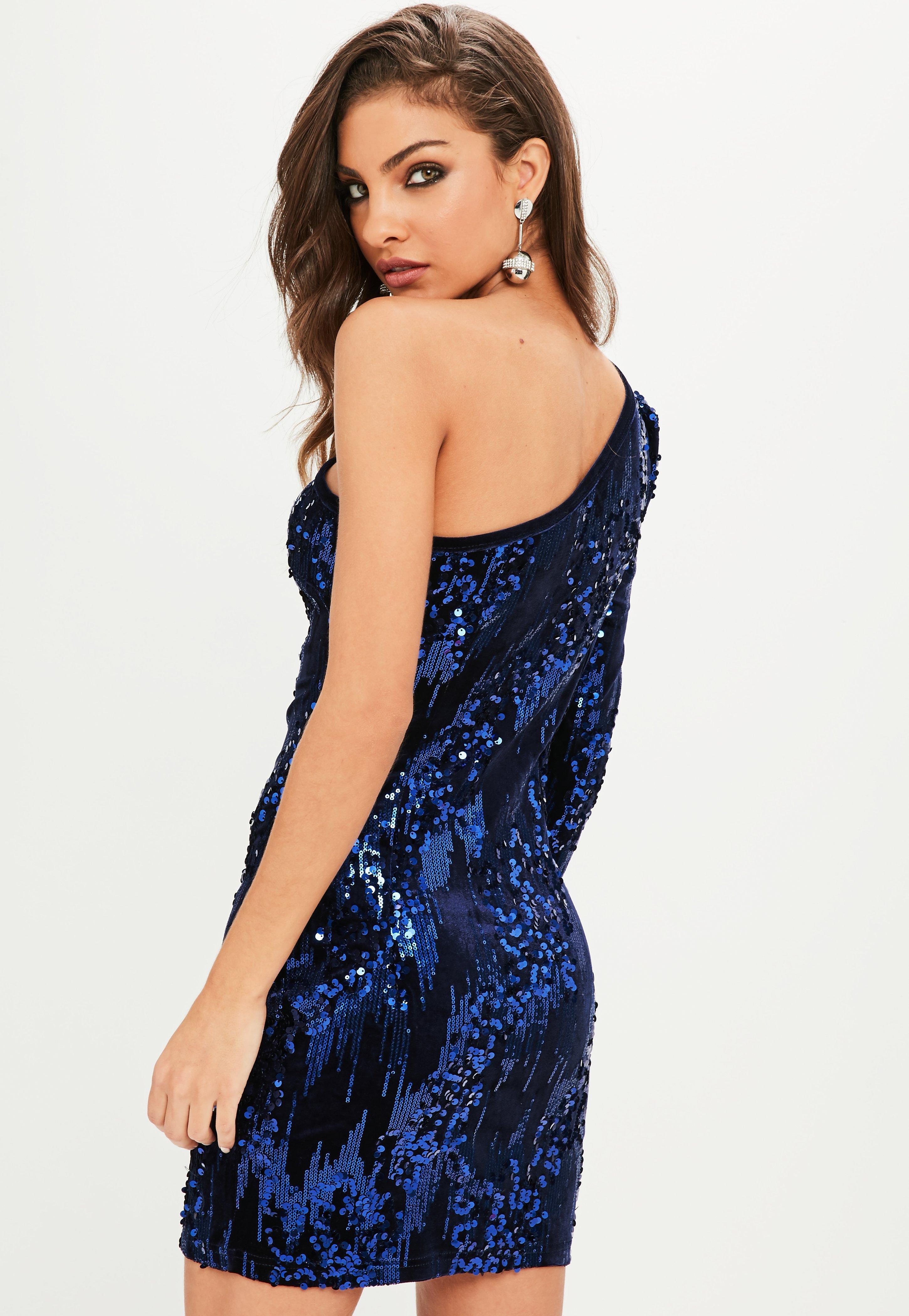 Hilaria navy blue sequin bodycon mini dress