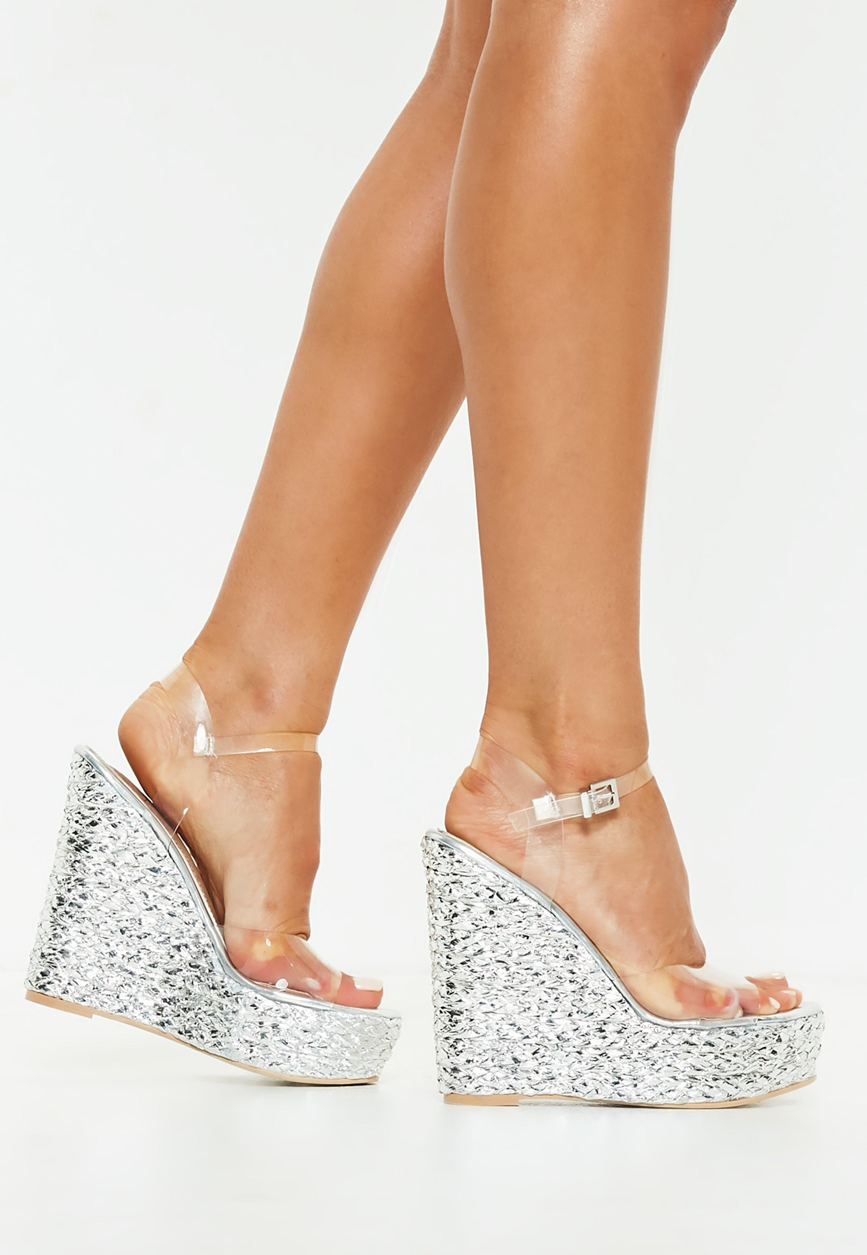 Missguided Silver Metallic Clear Strap