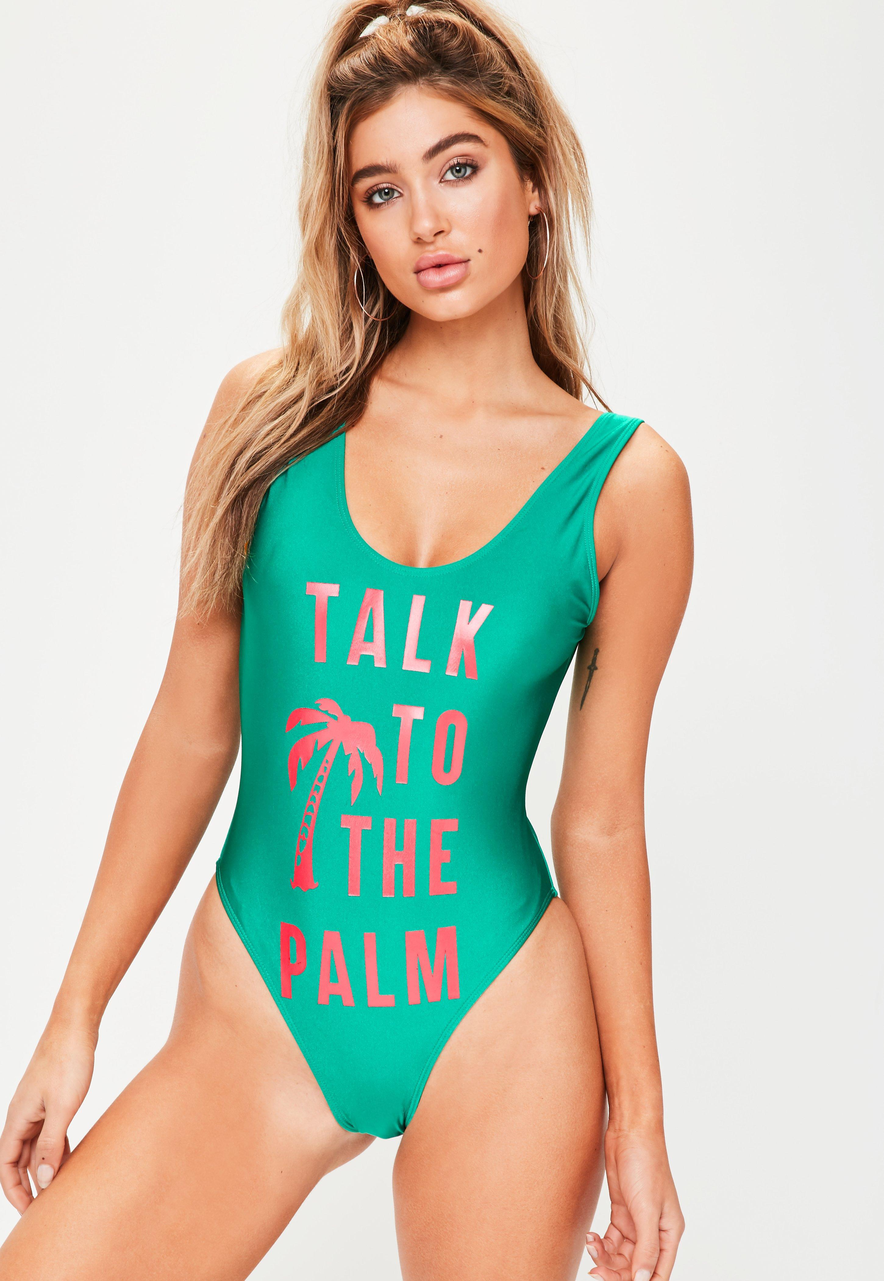 dd920ddedf Missguided Green Talk To The Palm Slogan Swimsuit in Green - Lyst