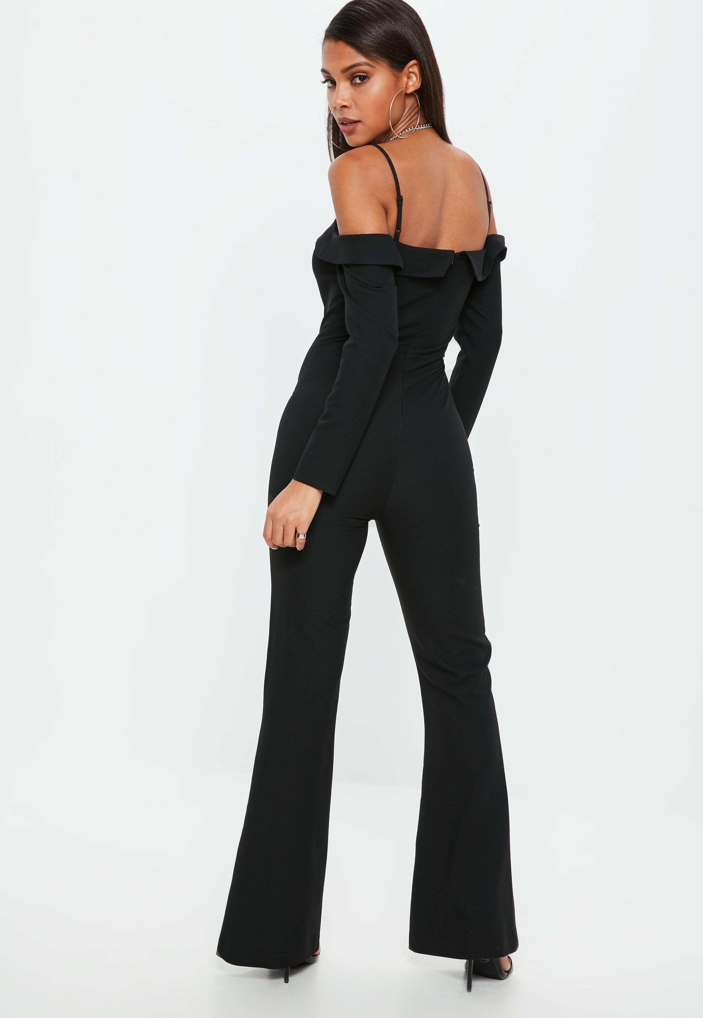 7d60ecc28b4 Lyst - Missguided Black Bardot Tux Long Sleeve Jumpsuit in Black