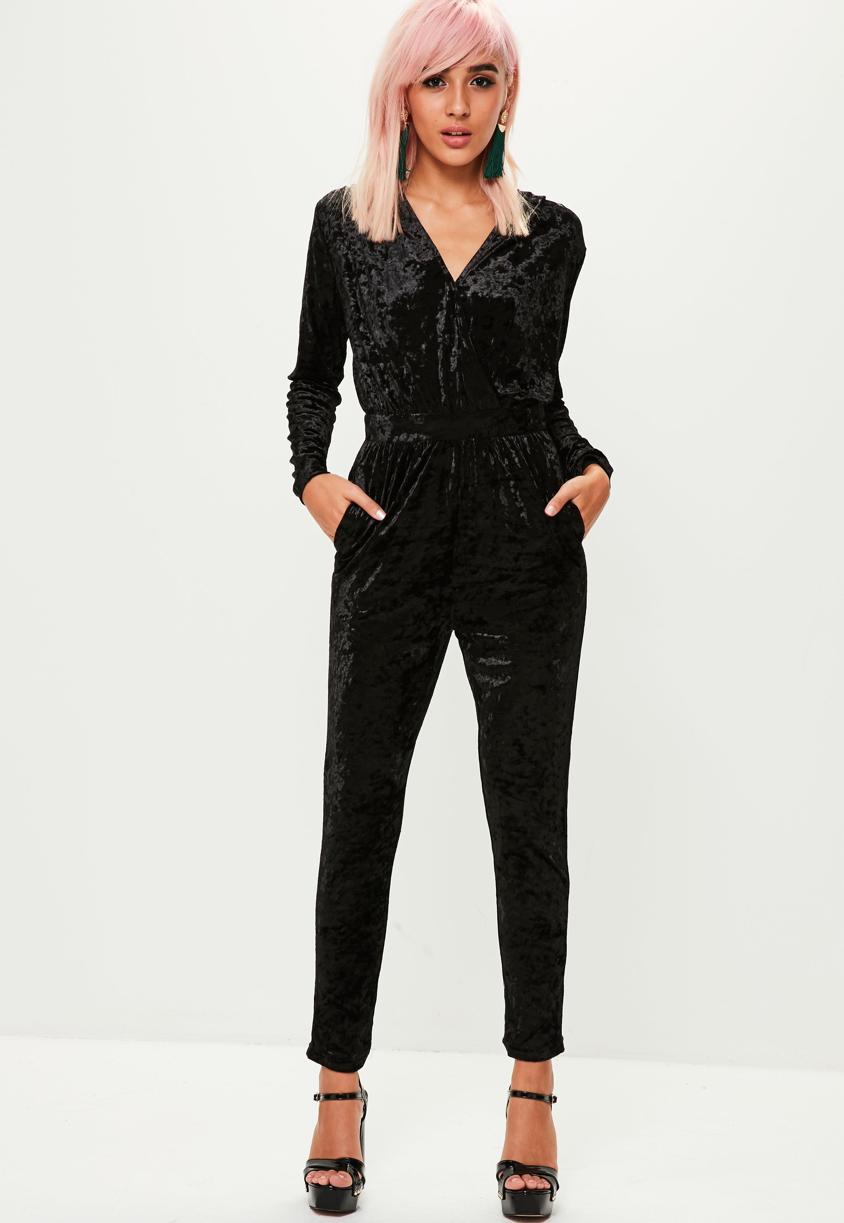 Missguided Black Velvet Jumpsuit Lyst