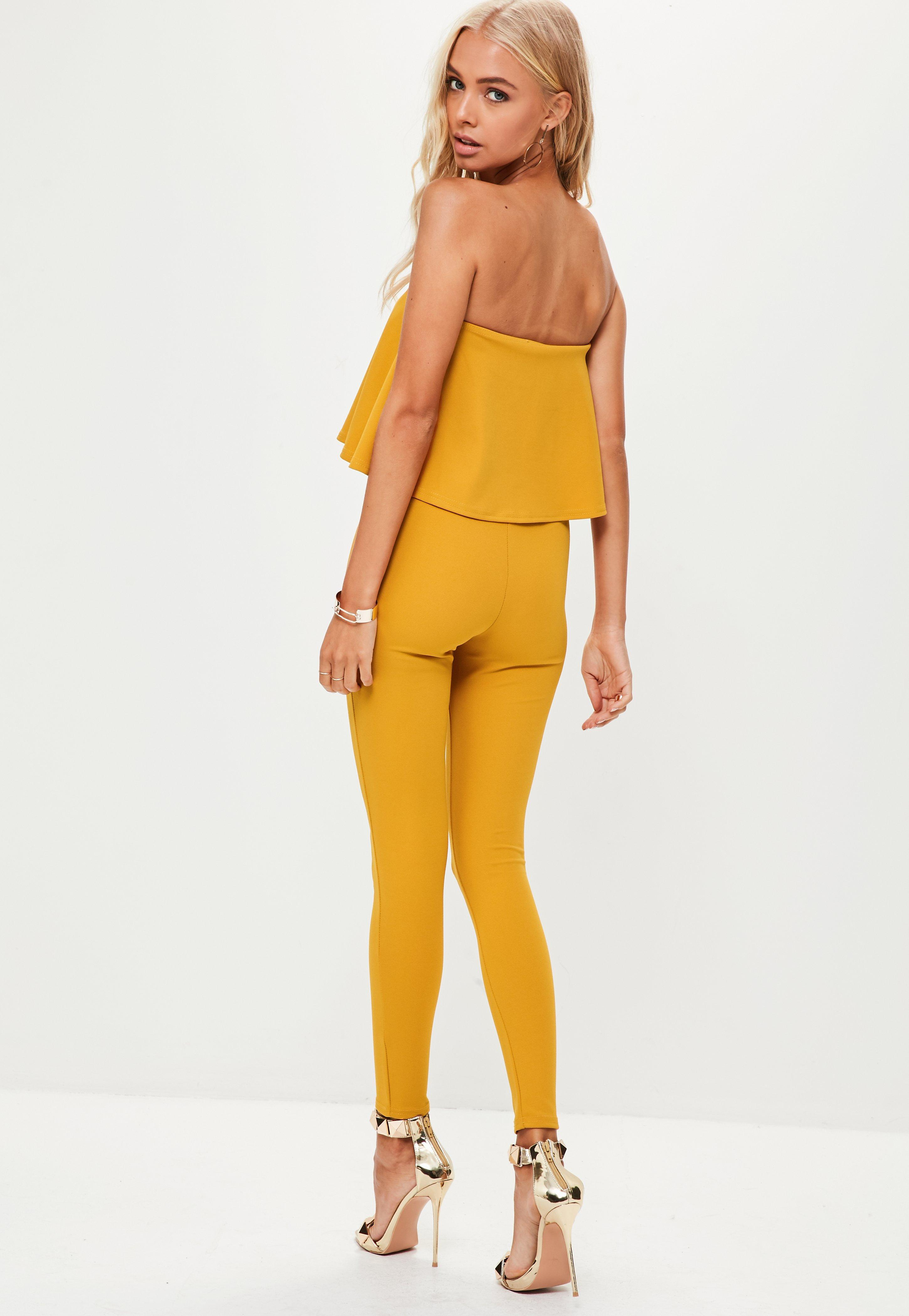 Missguided Yellow Bandeau Unitard Jumpsuit - Lyst