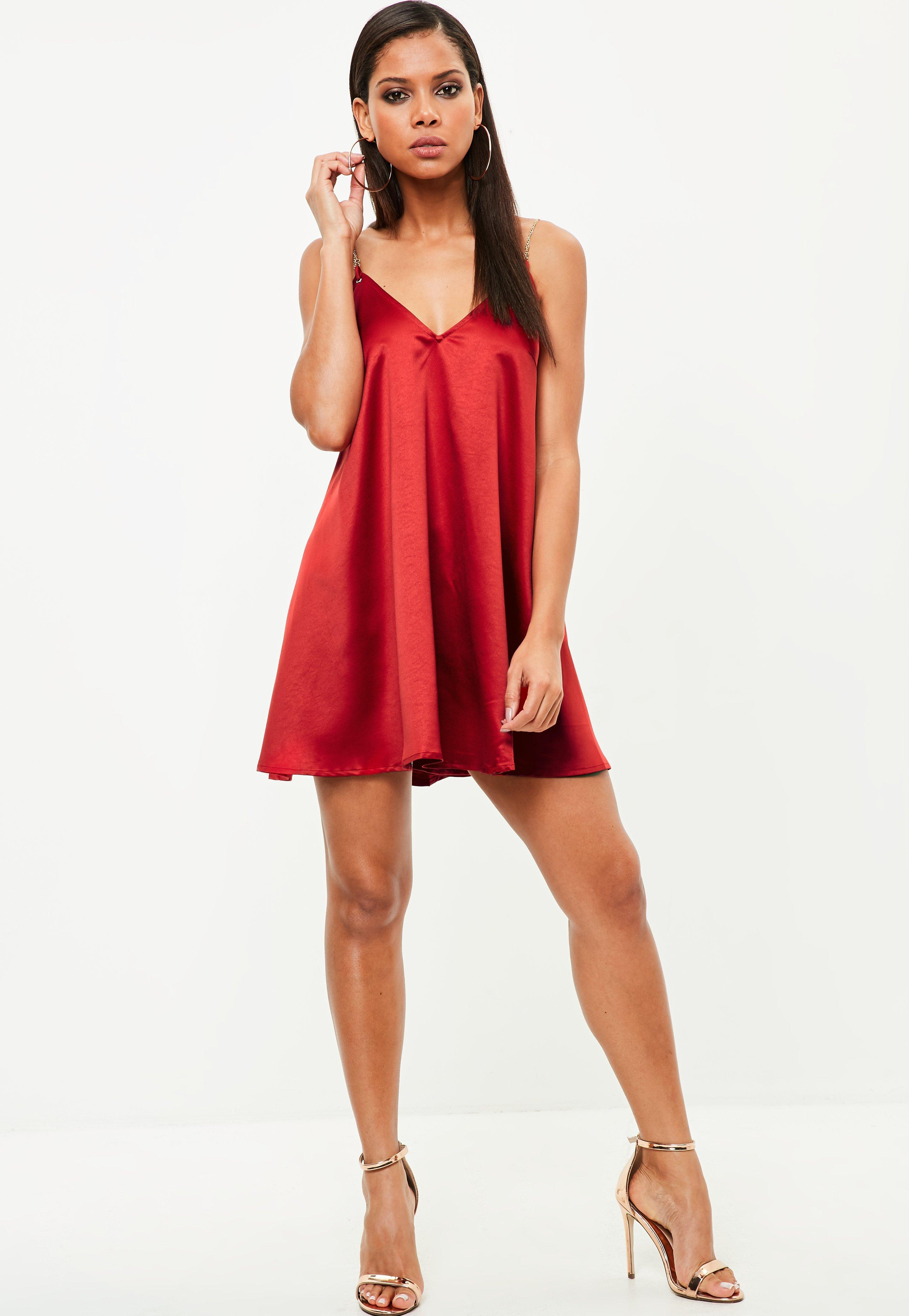 b871067d2c Missguided Red Chain Strap Satin Swing Dress in Red - Lyst