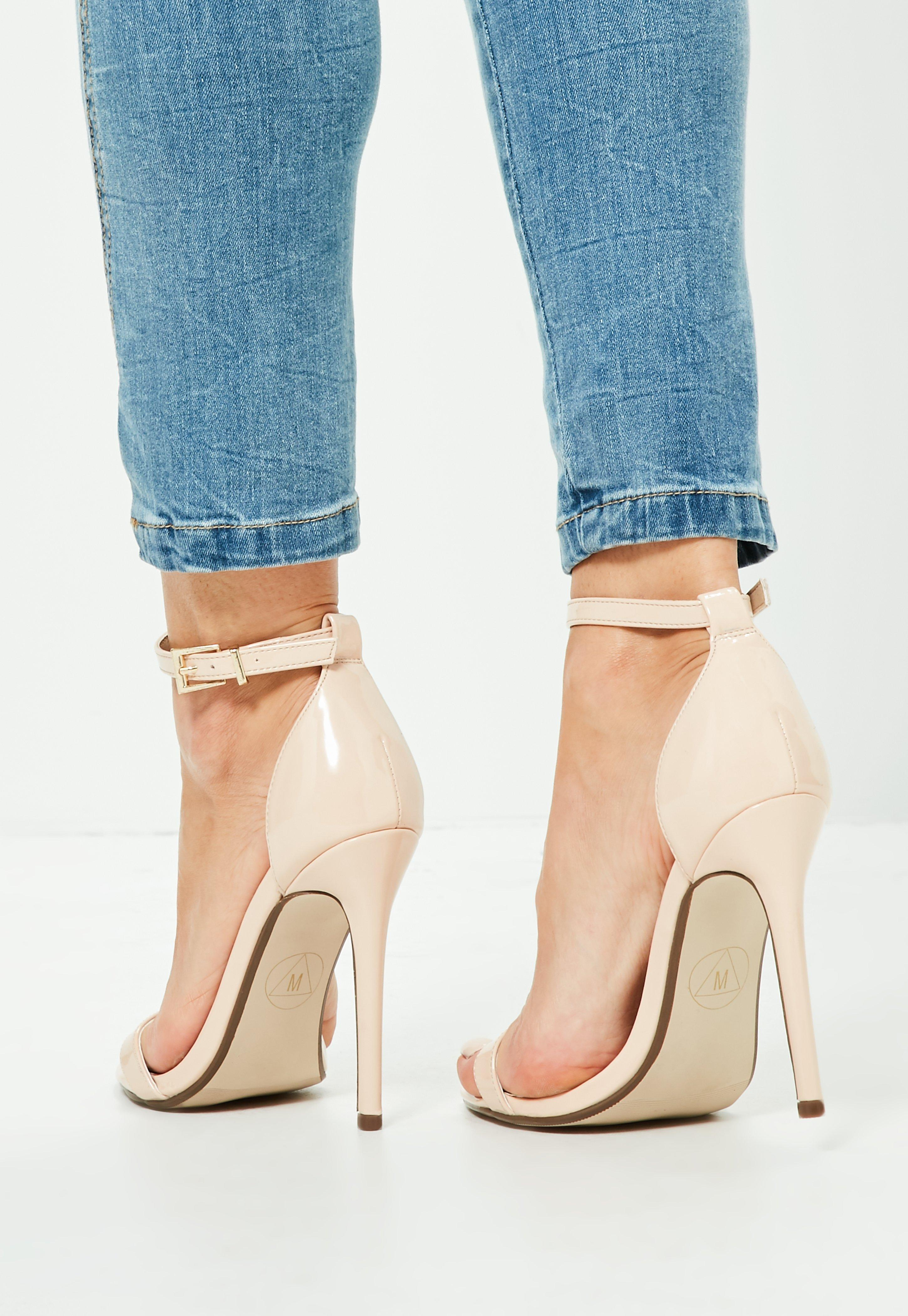 Missguided Patent Pointed Toe Barely There Heels Nude In