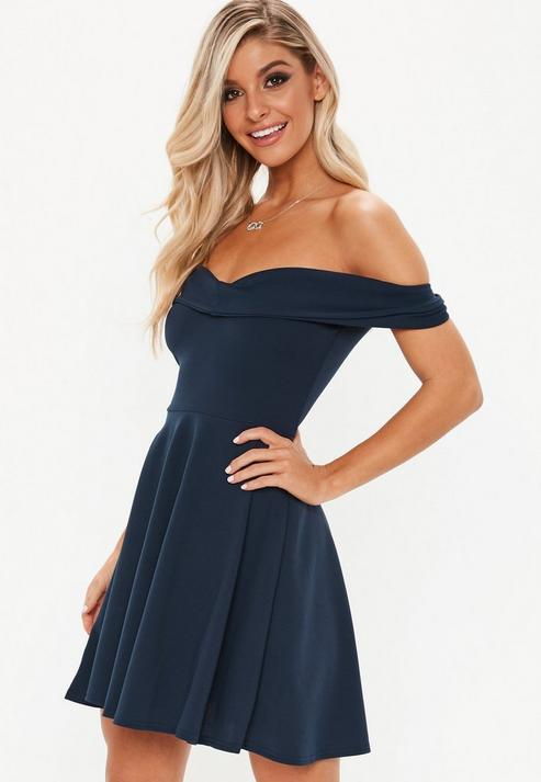 1f41987329 Missguided Navy Wrap Bardot Skater Dress in Blue - Lyst