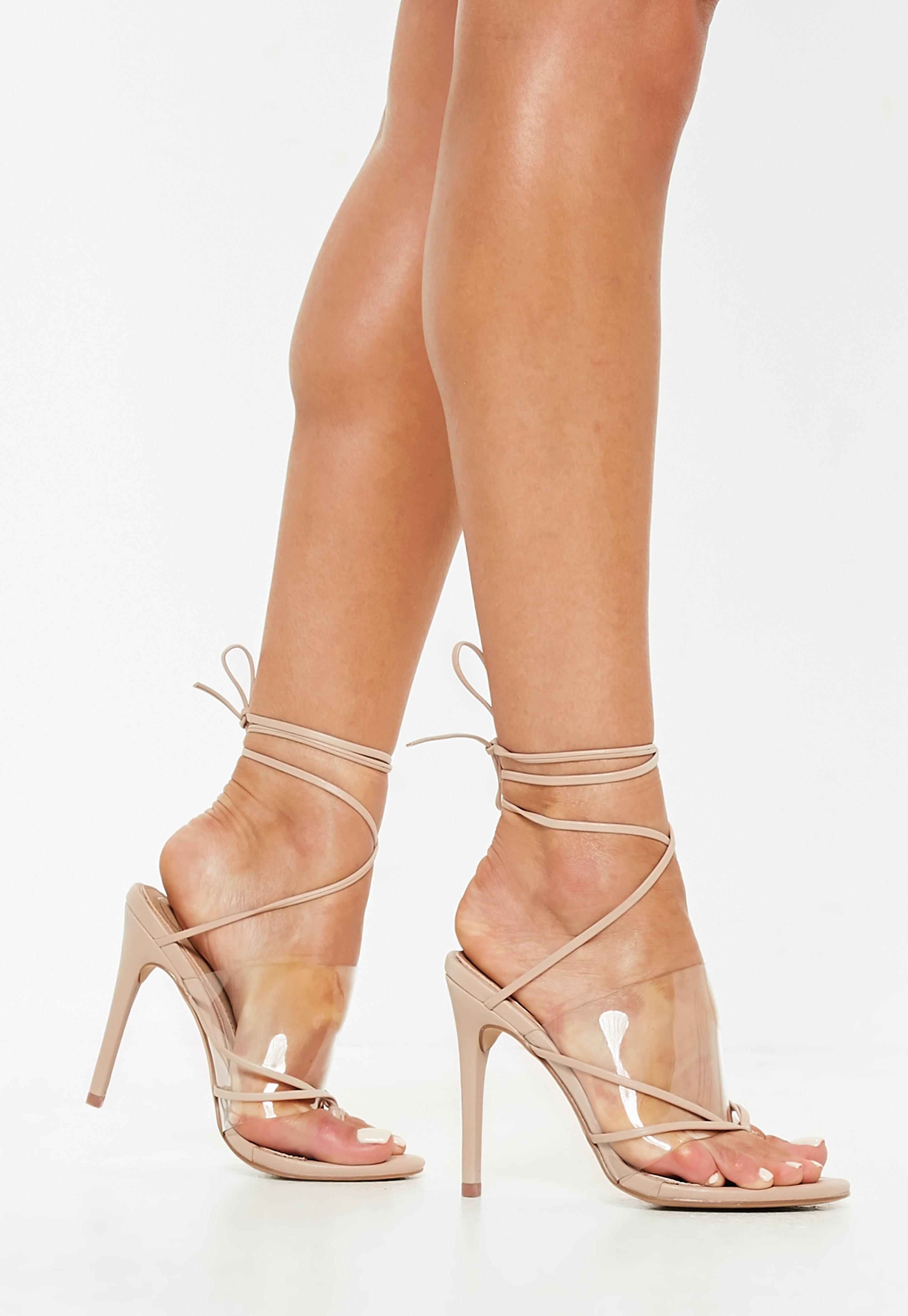 Missguided Nude Clear Strap Lace Up