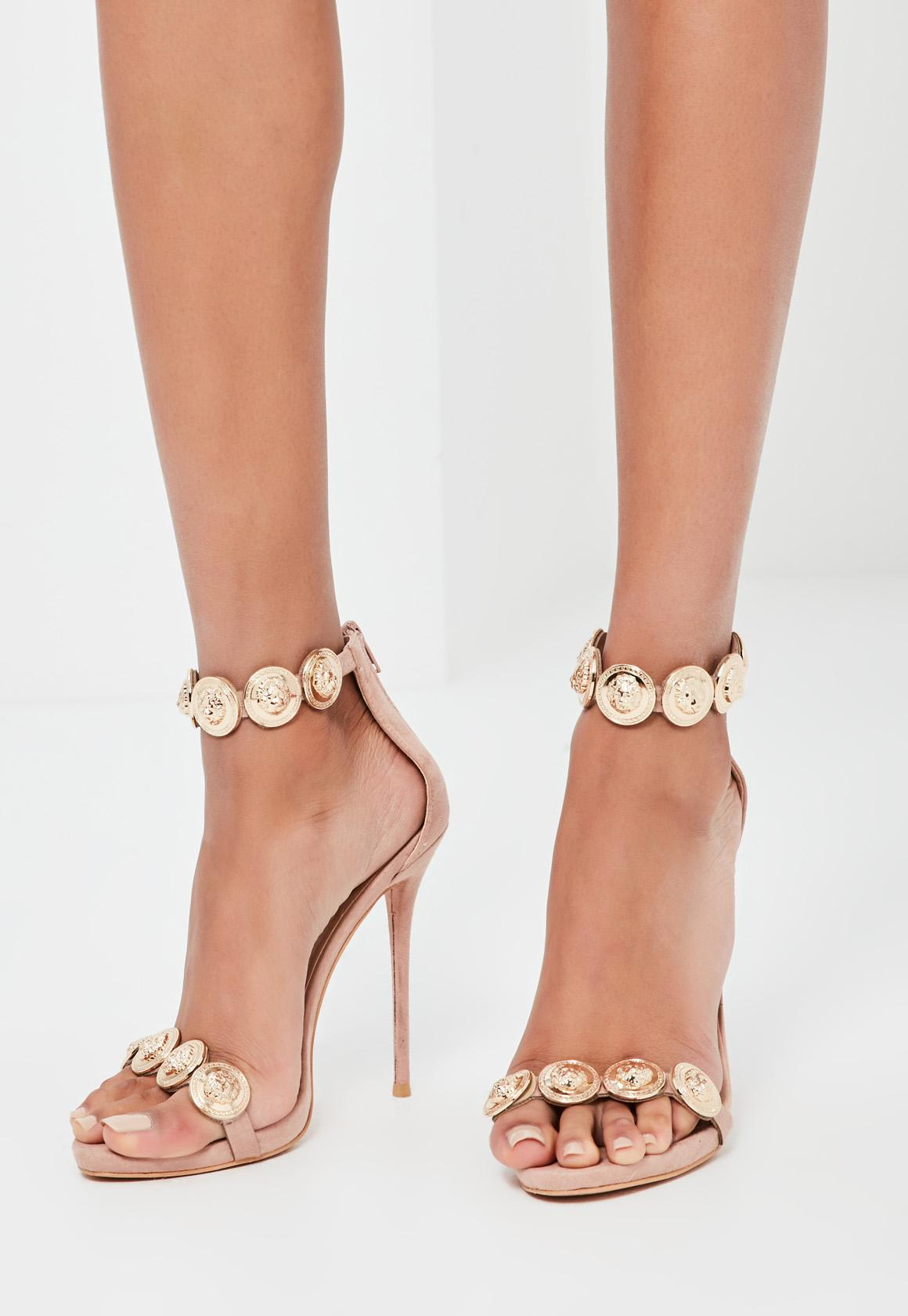 219196ac28b9 Lyst - Missguided Peace + Love Nude Embellished Strap Heeled Sandals ...