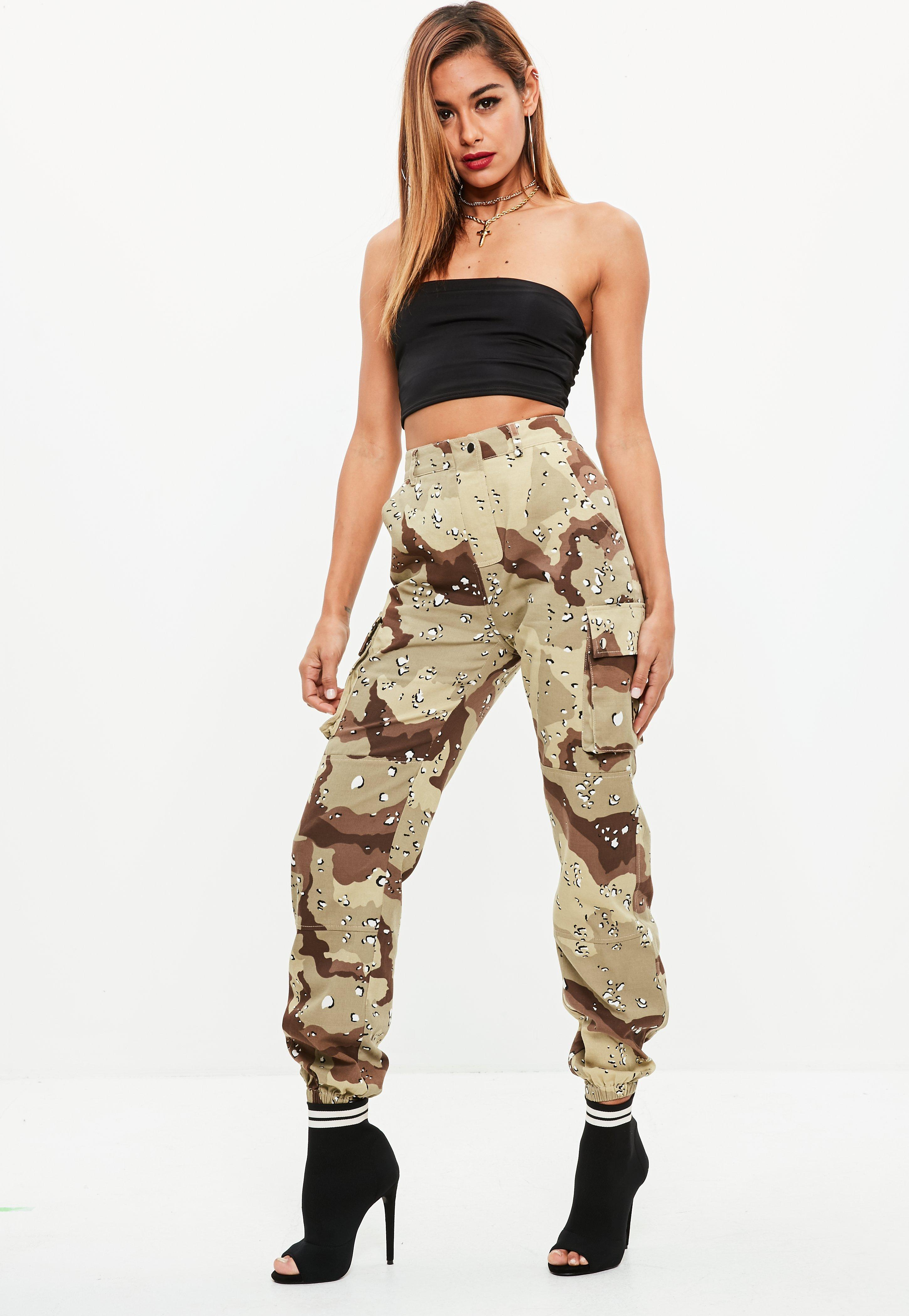 Tan In Printed Lyst Trousers Brown Cargo Camo Missguided Premium 4ffx0qPE