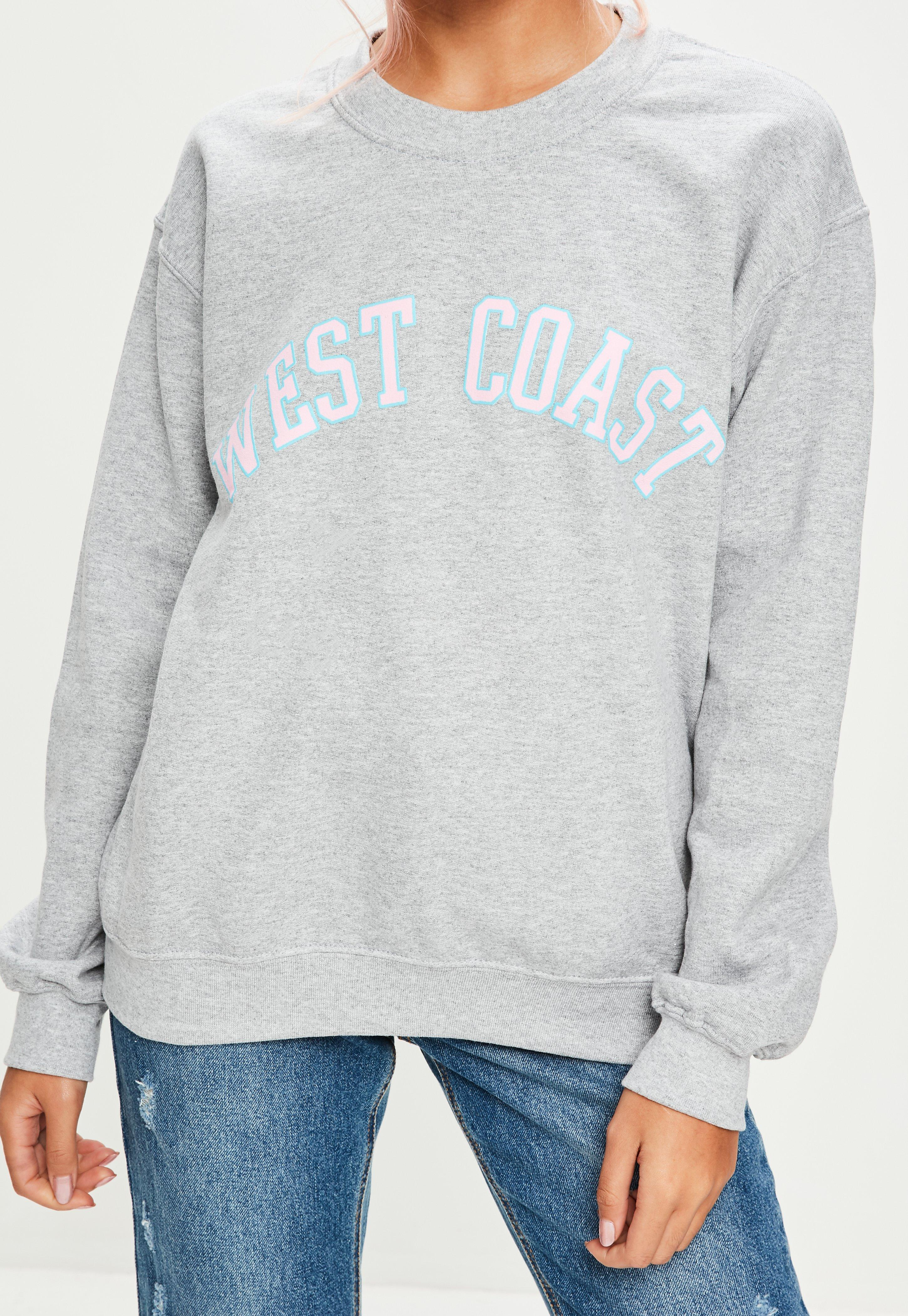outlet separation shoes sale online Missguided Grey West Coast Sweatshirt in Gray - Lyst