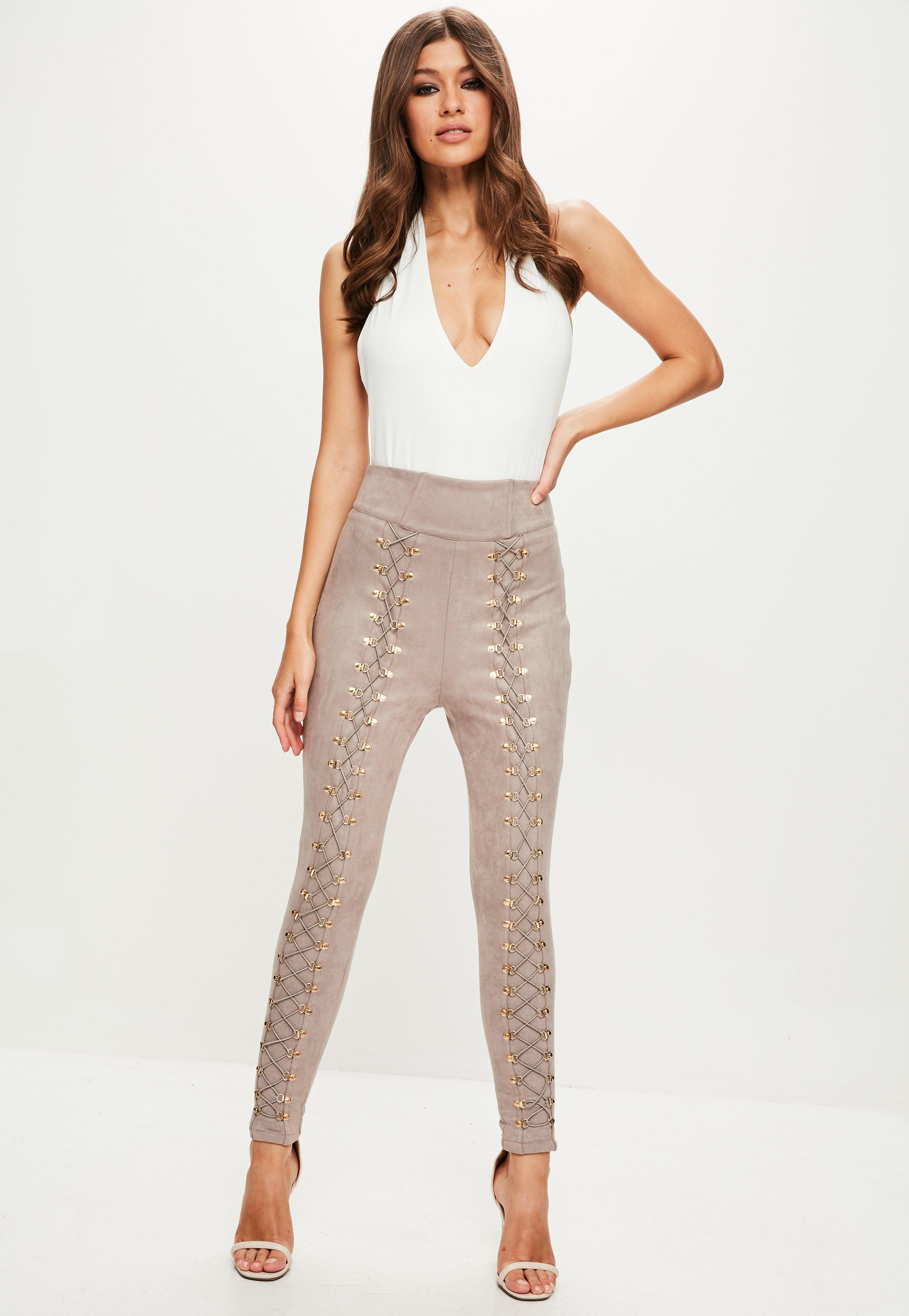 Tall Faux Suede High Waisted Skinny Pants Nude | Missguided