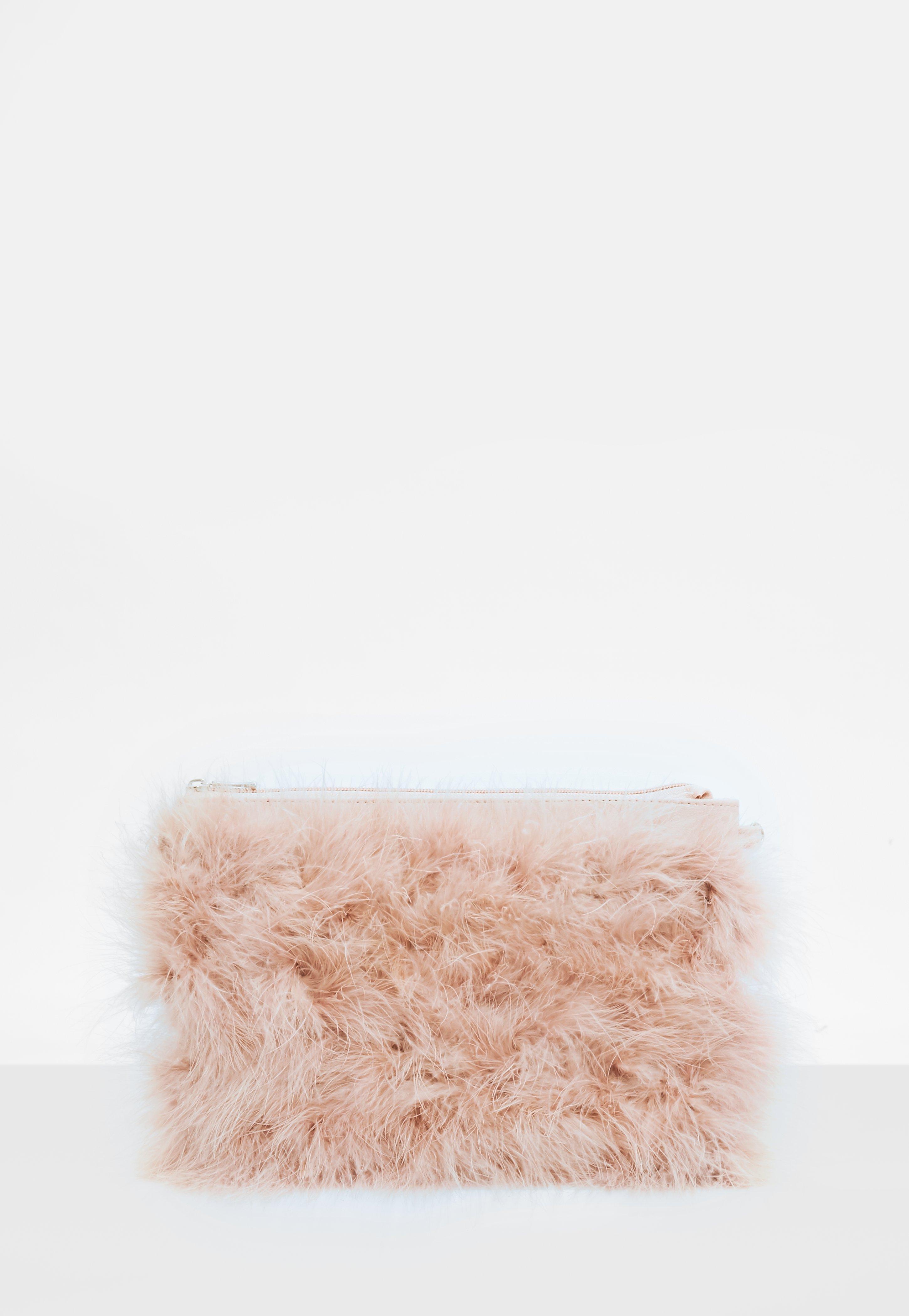 Missguided - Pink Feather Zip Front Clutch - Lyst. View fullscreen ea770420de