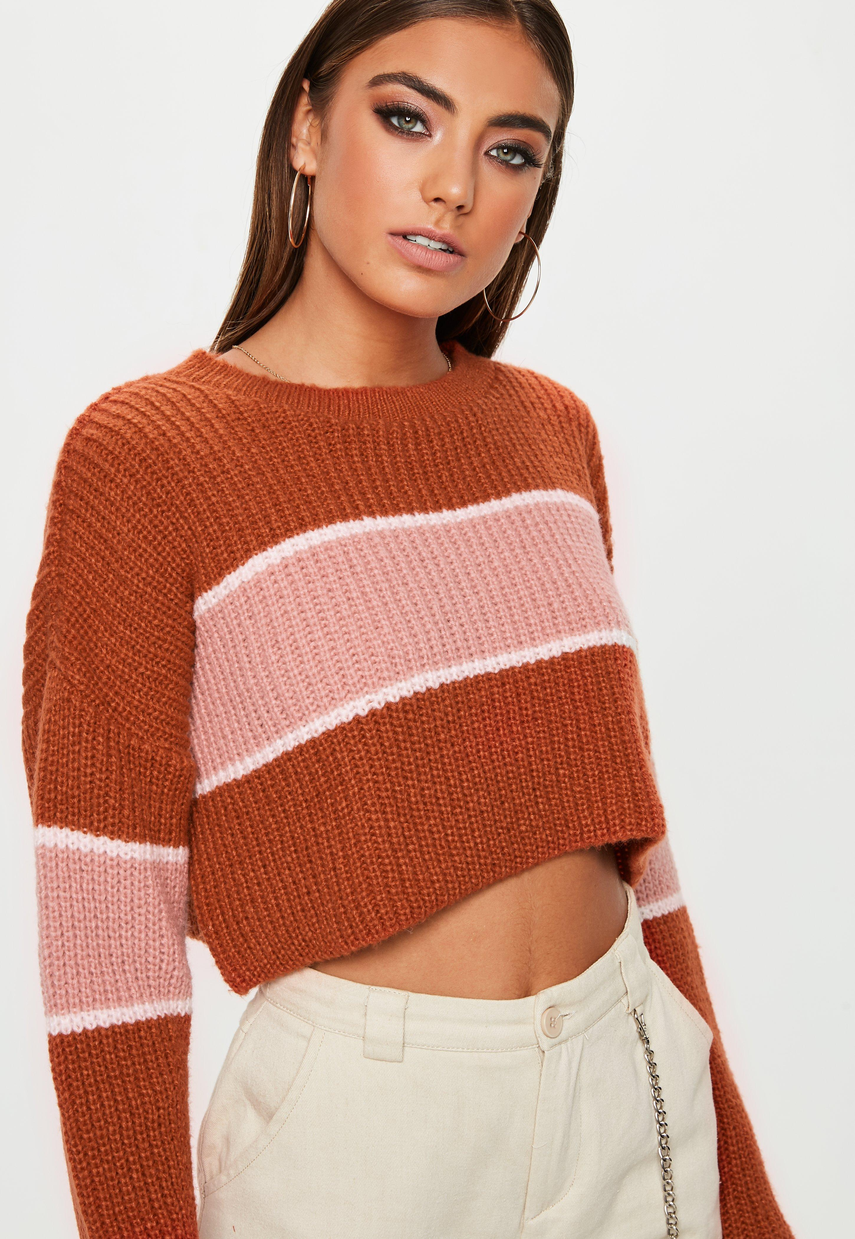 658960028bb Lyst - Missguided Tan Colourblock Striped Brushed Cropped Jumper in ...