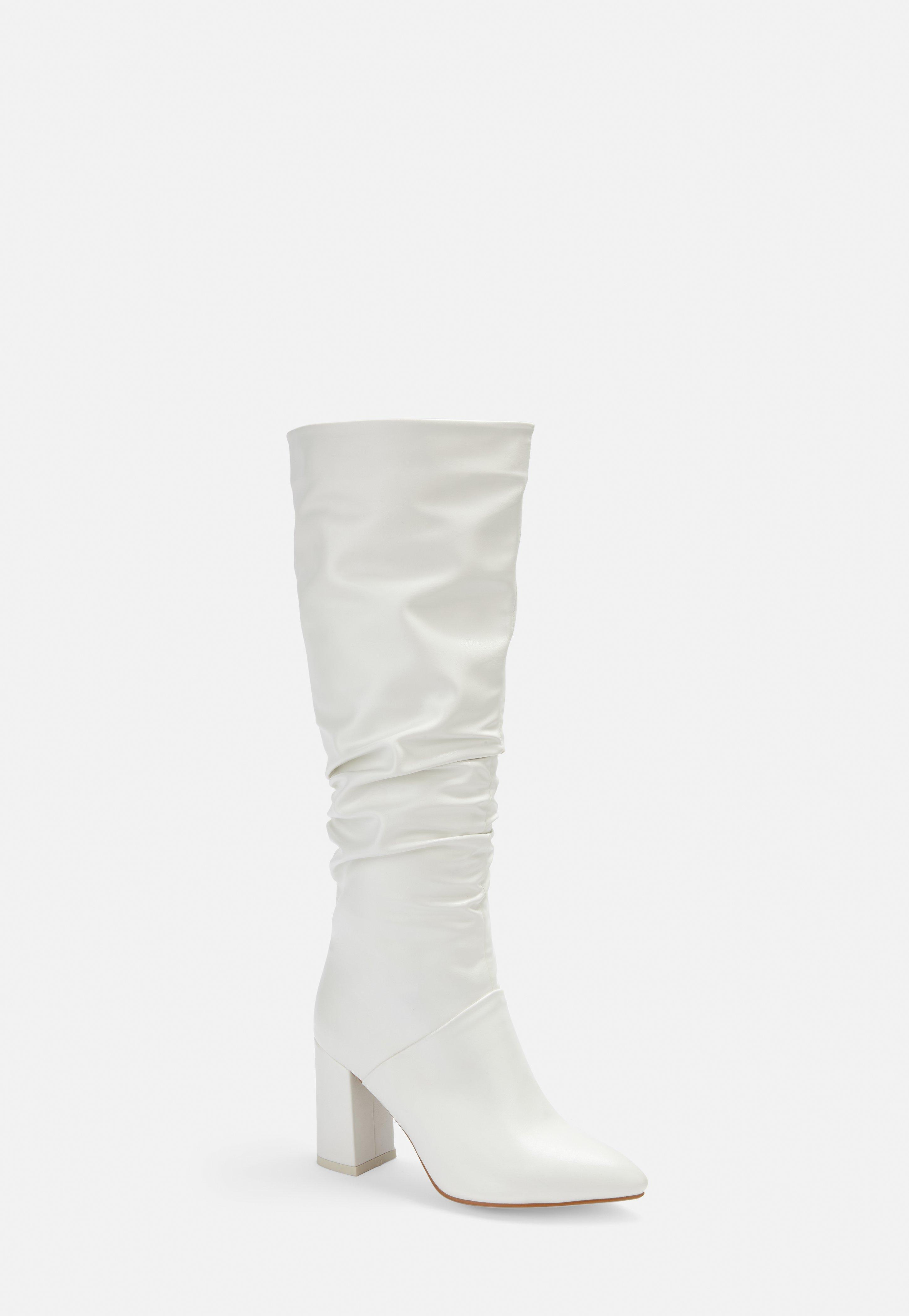 Missguided White Faux Leather Ruched