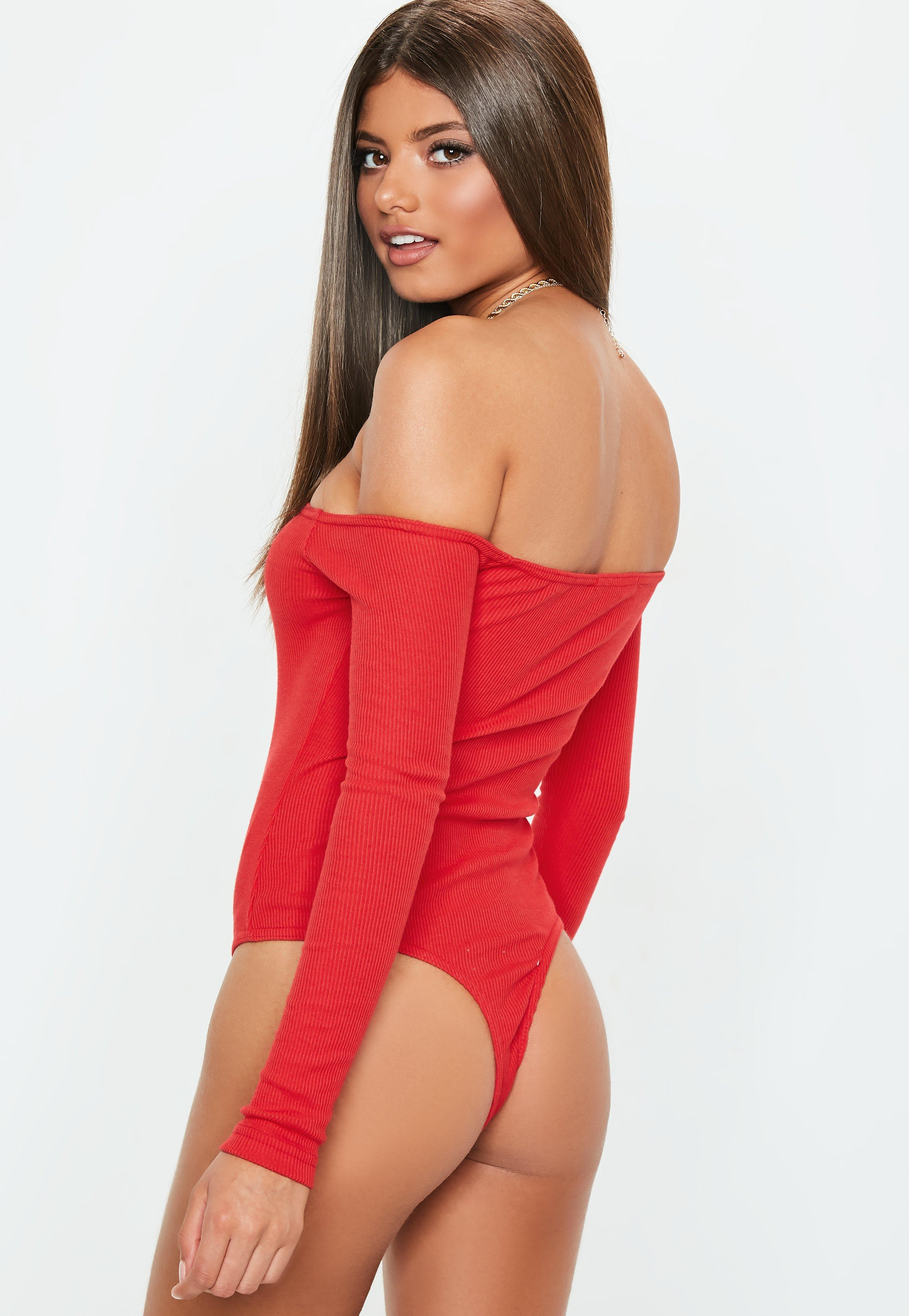 Missguided - Red Button Front Long Sleeve Ribbed Bardot Bodysuit - Lyst.  View fullscreen 2d1bbc7d7