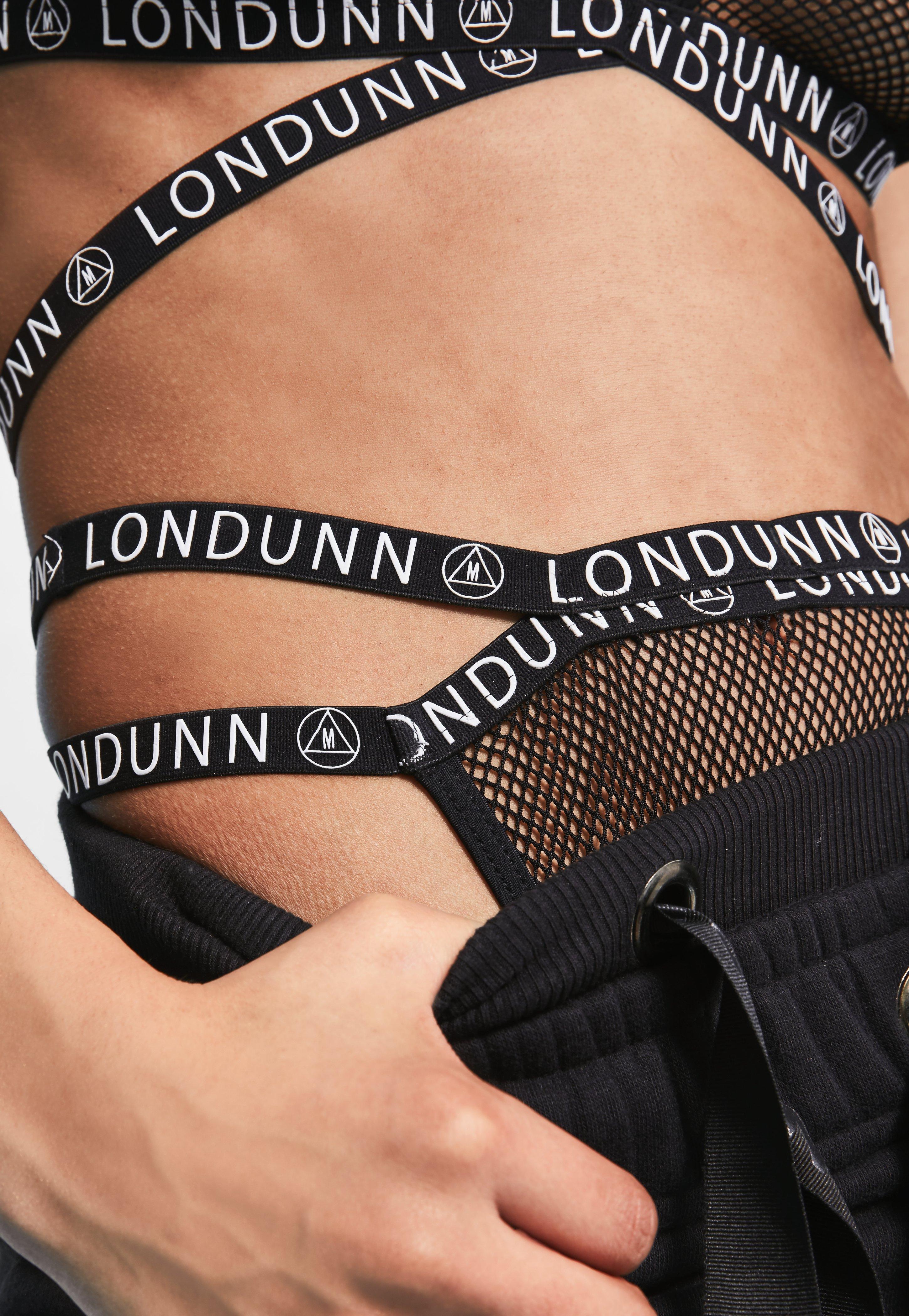 eb34406b69 Lyst - Missguided Londunn + Black Mesh Logo High Cut Knickers in Black