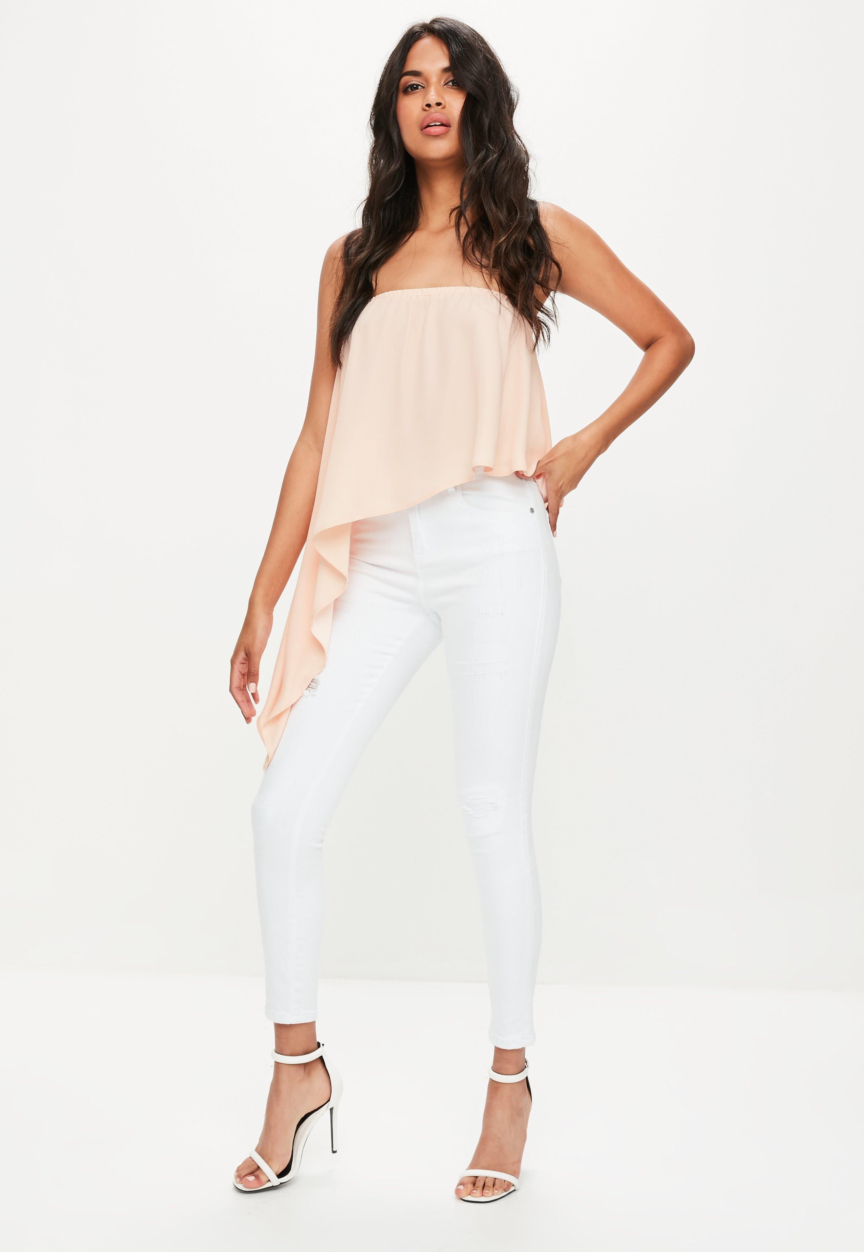 bae162fdd36fa9 Missguided Pink Asymmetric Bandeau Top in Pink - Lyst