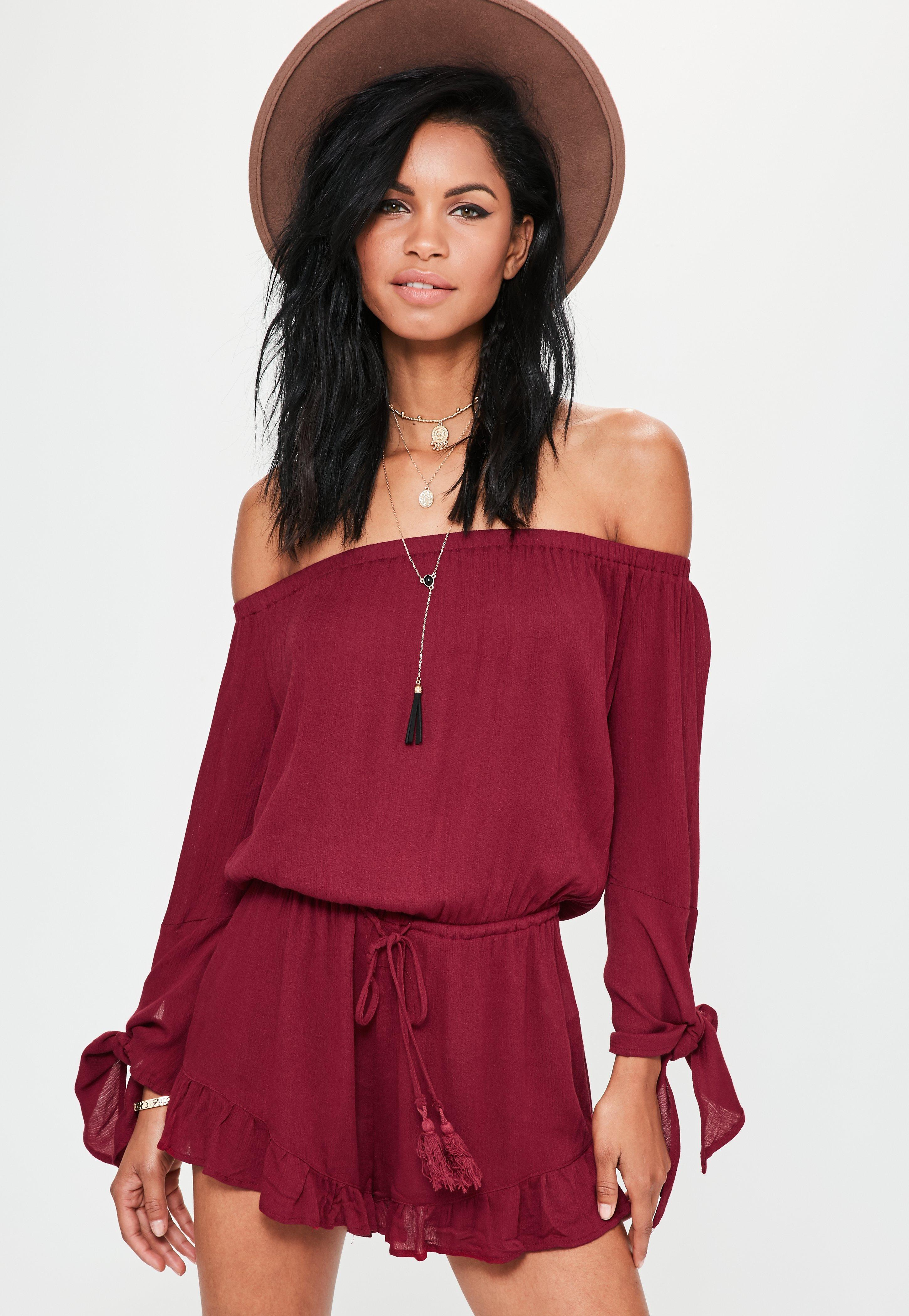 25723935dd6 Lyst - Missguided Red Cheesecloth Tie Sleeve Bardot Playsuit in Red