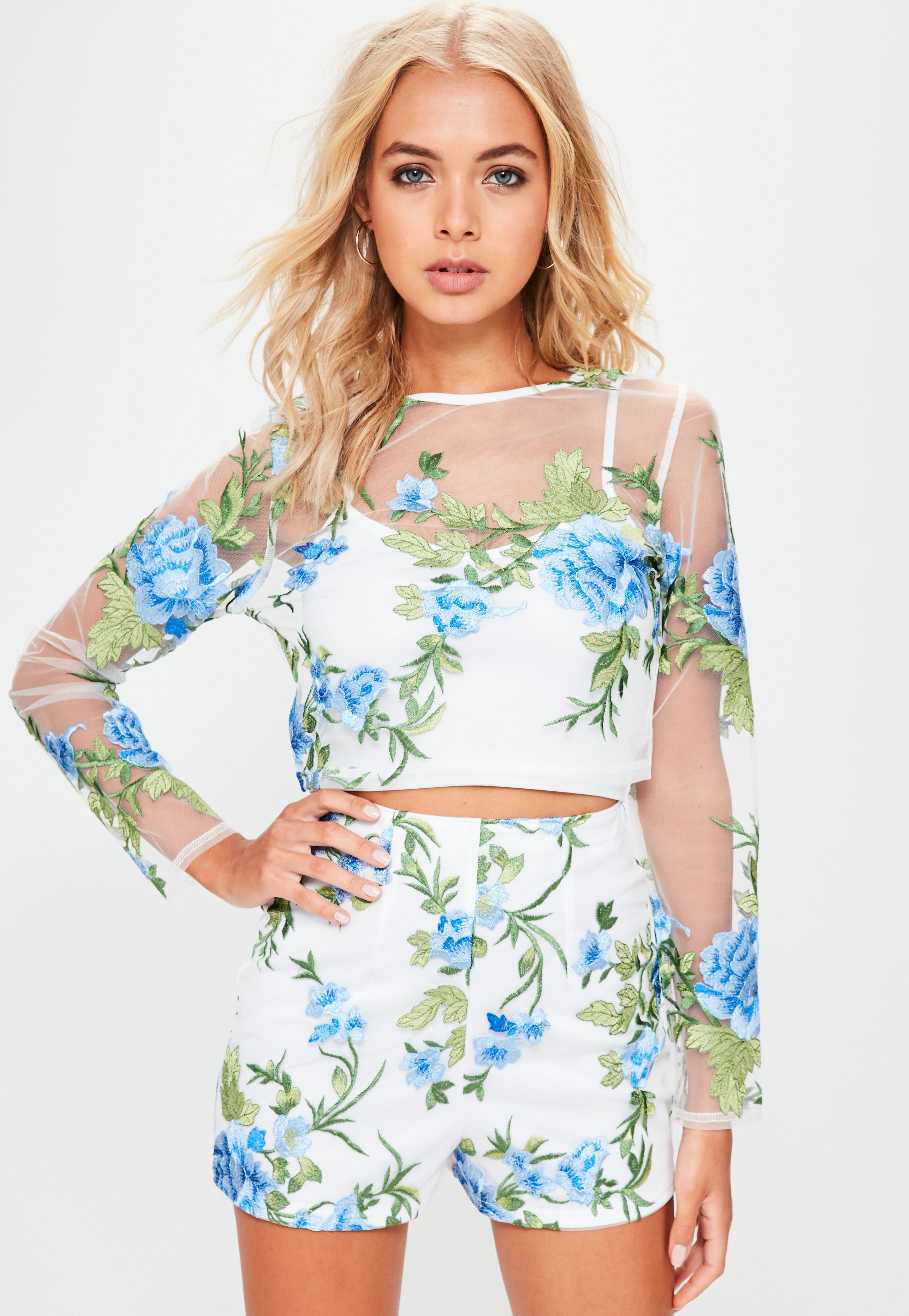 Lyst Missguided White Floral Mesh Embroidered Crop Top In White