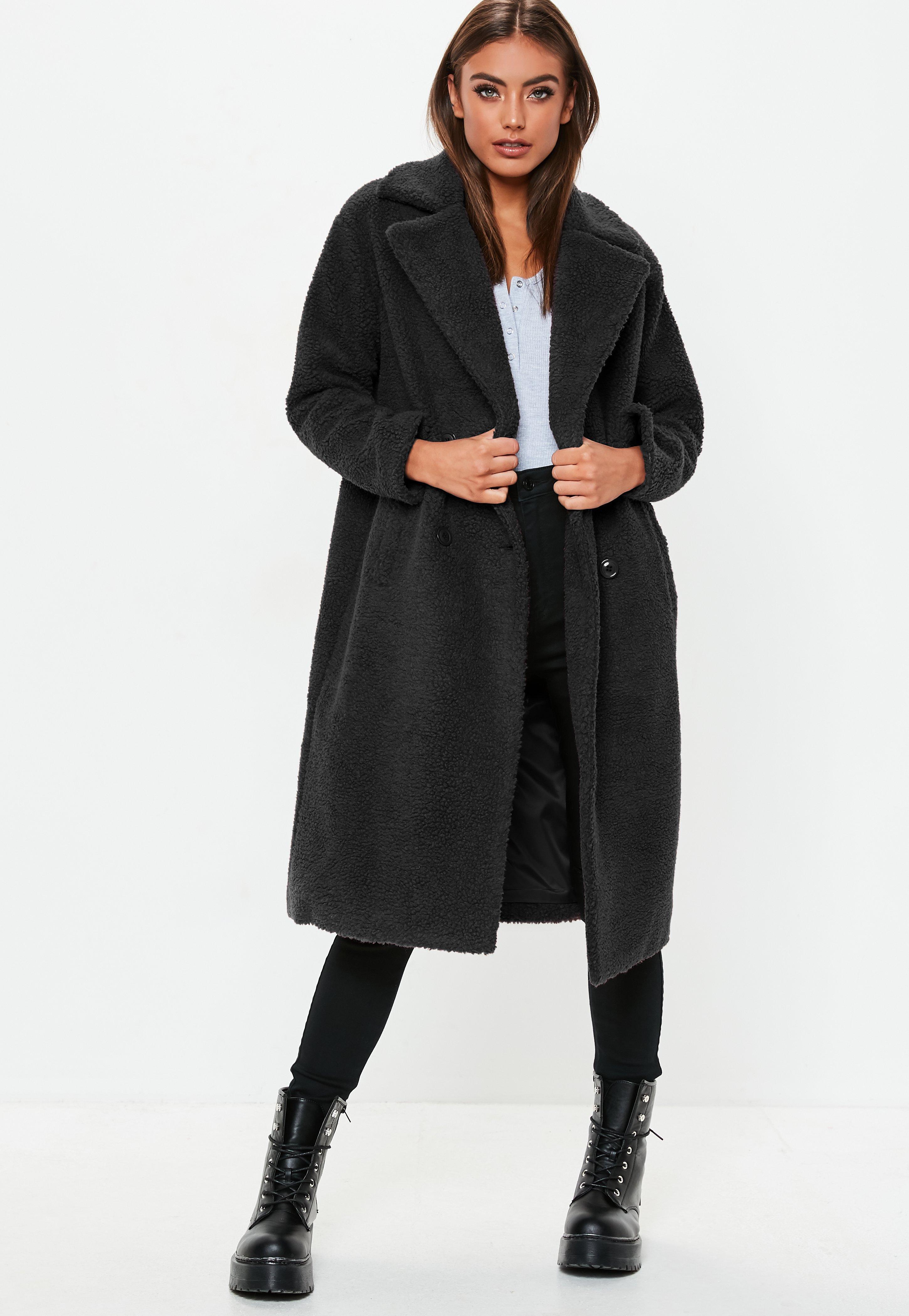 a11f43530 Lyst - Missguided Tall Black Longline Borg Teddy Coat in Black