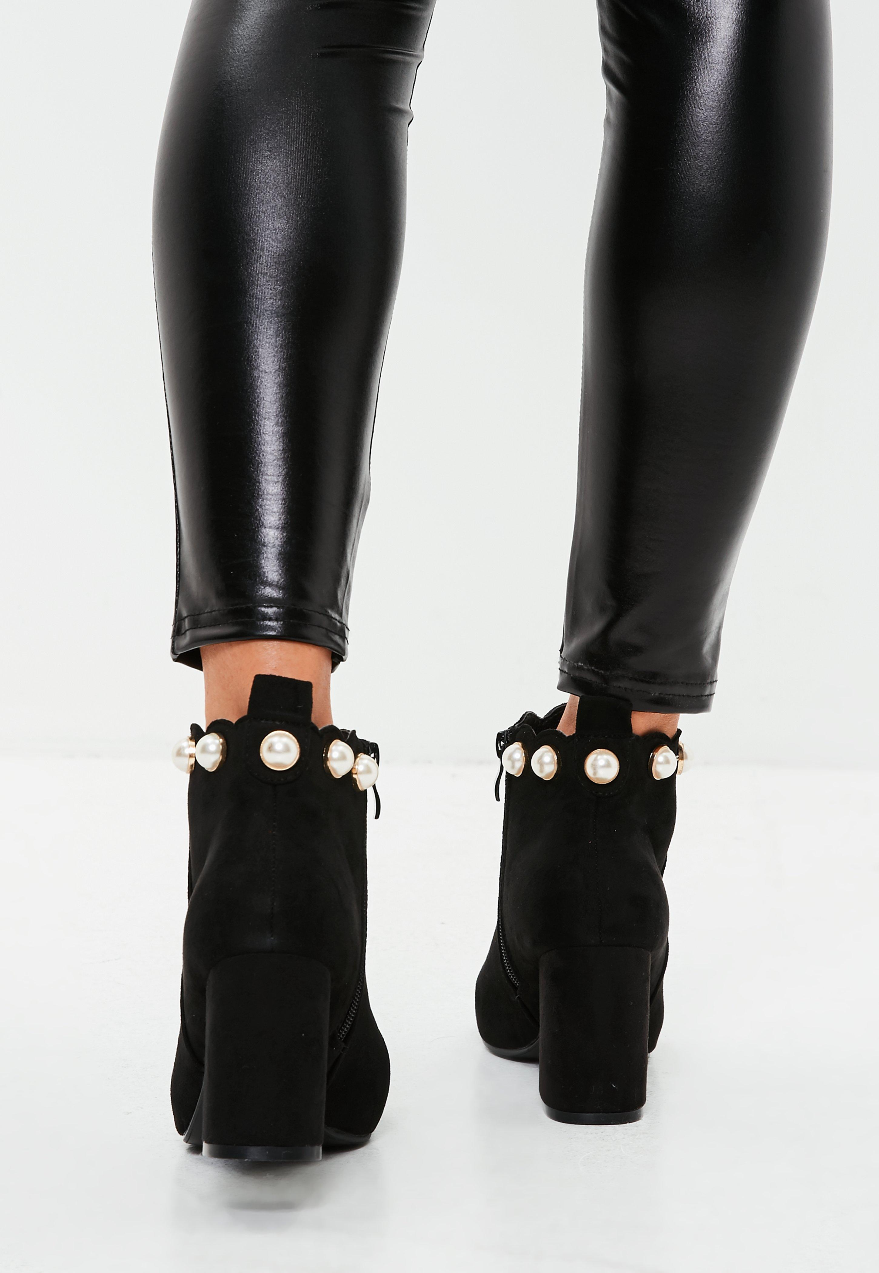 Missguided Black Faux Suede Pearl Top Ankle Boots