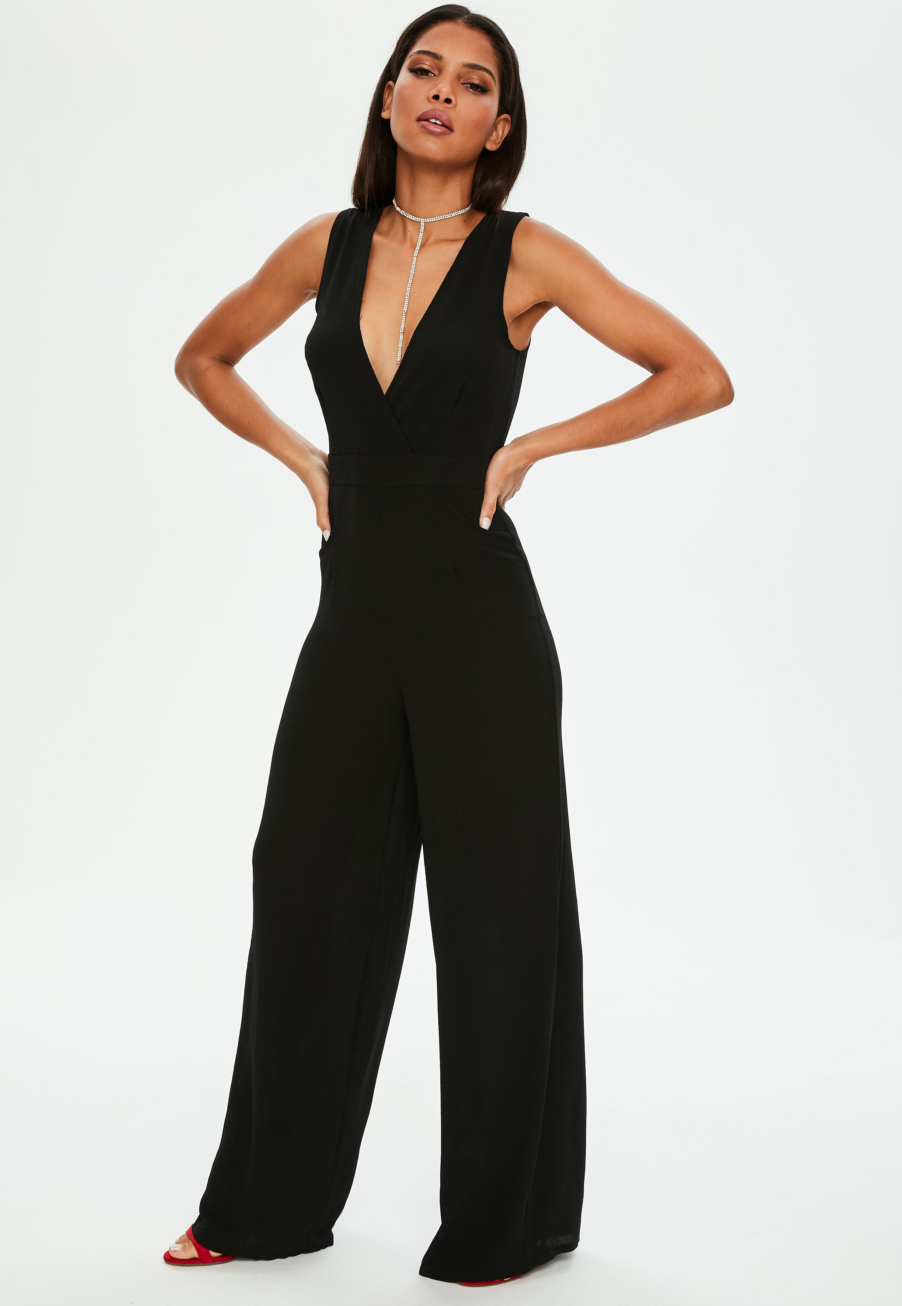 ad8c5916fd56 Lyst - Missguided Black Wrap Front Sleeveless Wide Leg Jumpsuit in Black