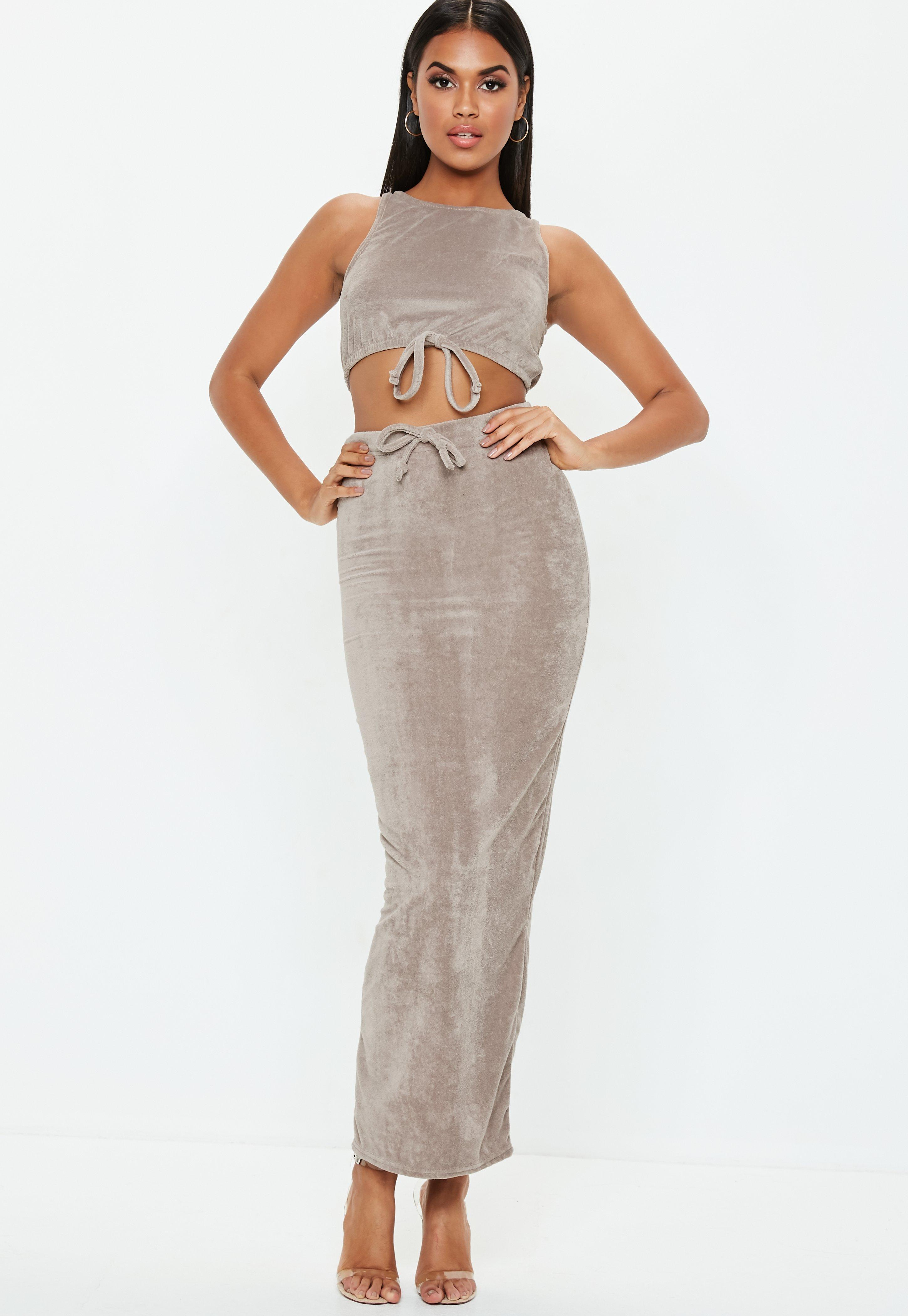 8b642dad15e64 Missguided - Multicolor Taupe Velvet Sleeveless Crop Top - Lyst. View  fullscreen