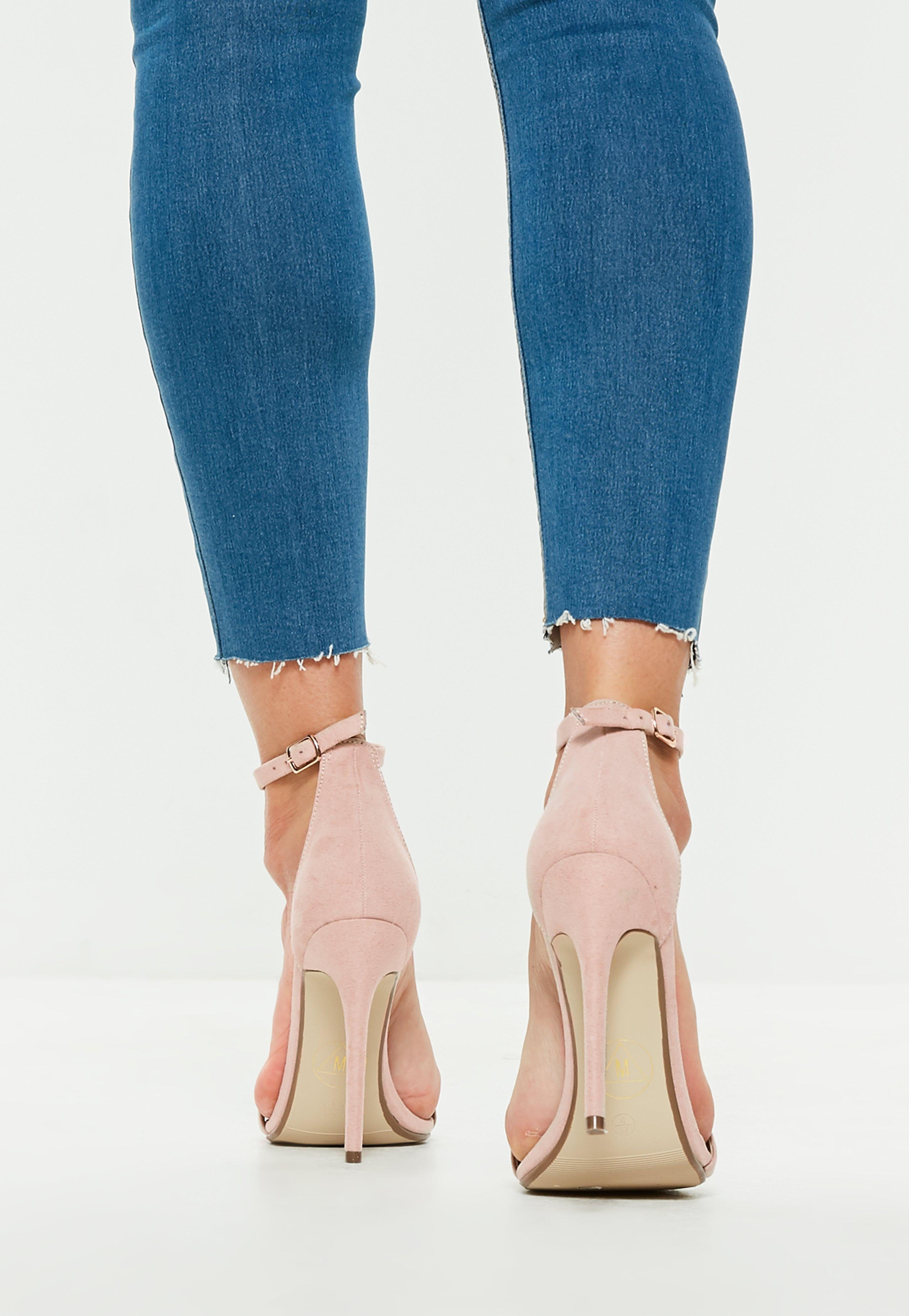 48edda79621 Missguided Nude Faux Suede Two Strap Barely There Heels in Blue - Lyst