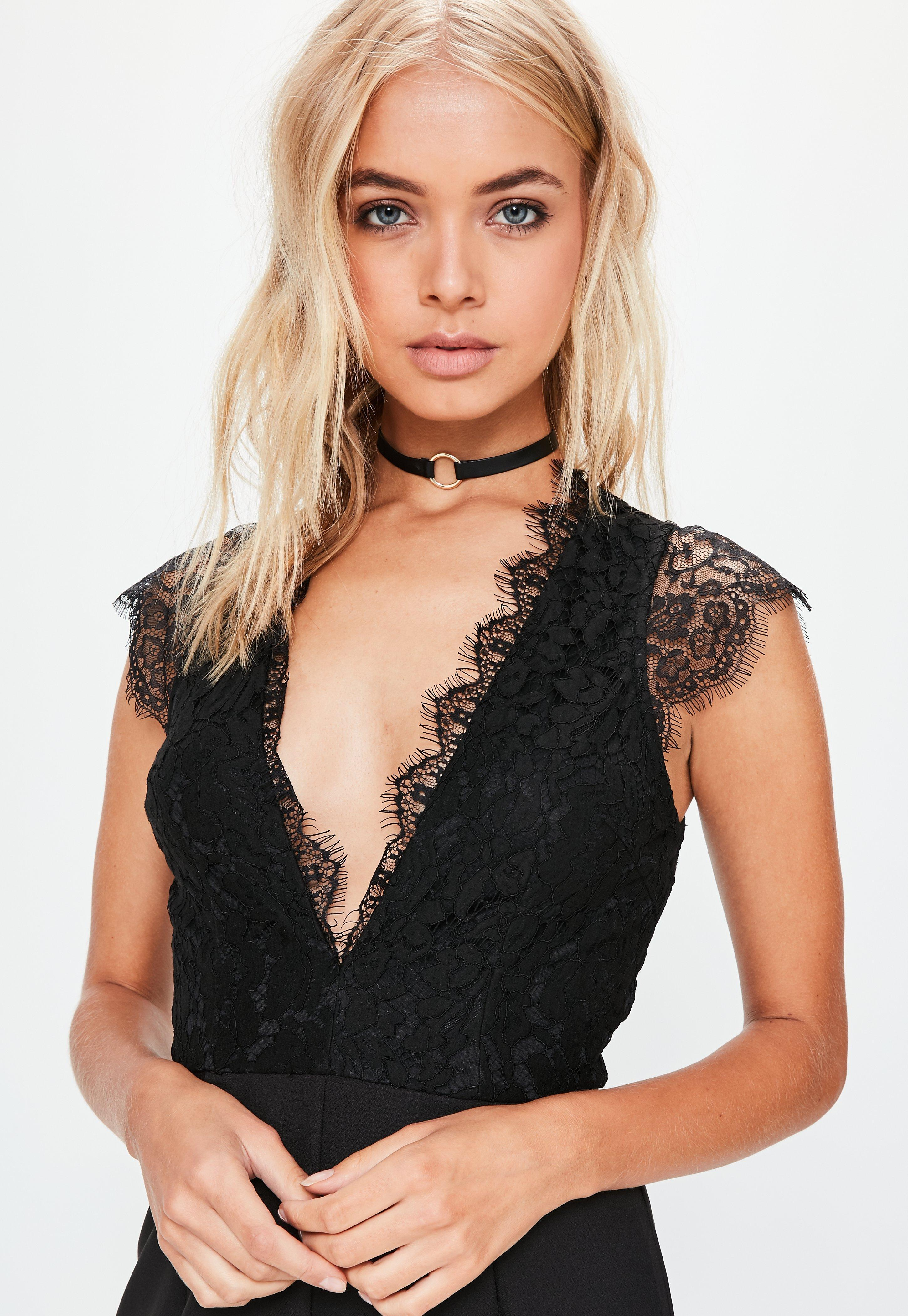 d99664c9c8c Lyst - Missguided Tall Black Lace Sleeveless Plunge Jumpsuit in Black