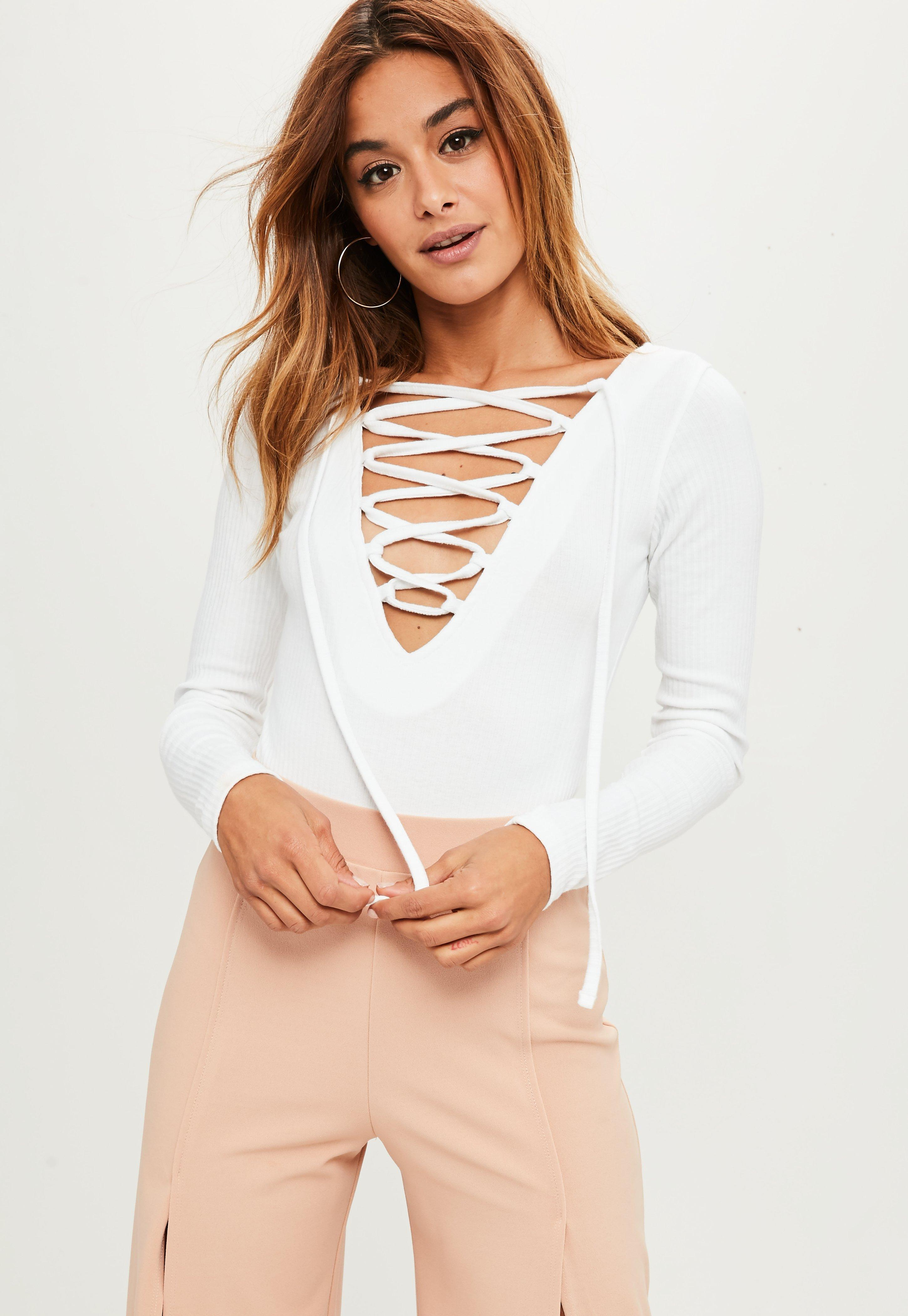 Lyst - Missguided Tall White Long Sleeve Lace Up Ribbed Bodysuit in ... ff8ecd758