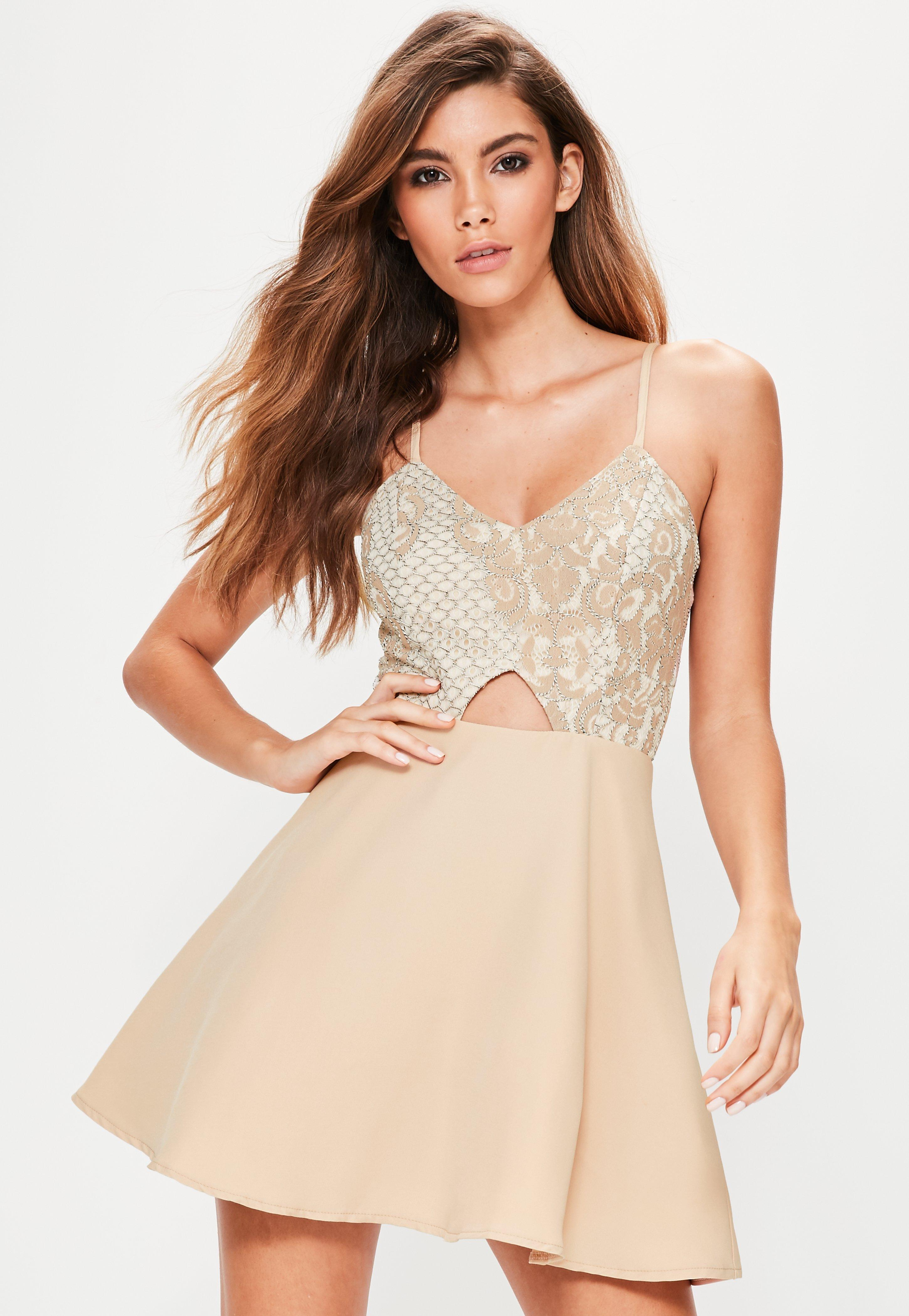 Lyst - Missguided Nude Lace Skater Dress in Natural d1fdc9e1e