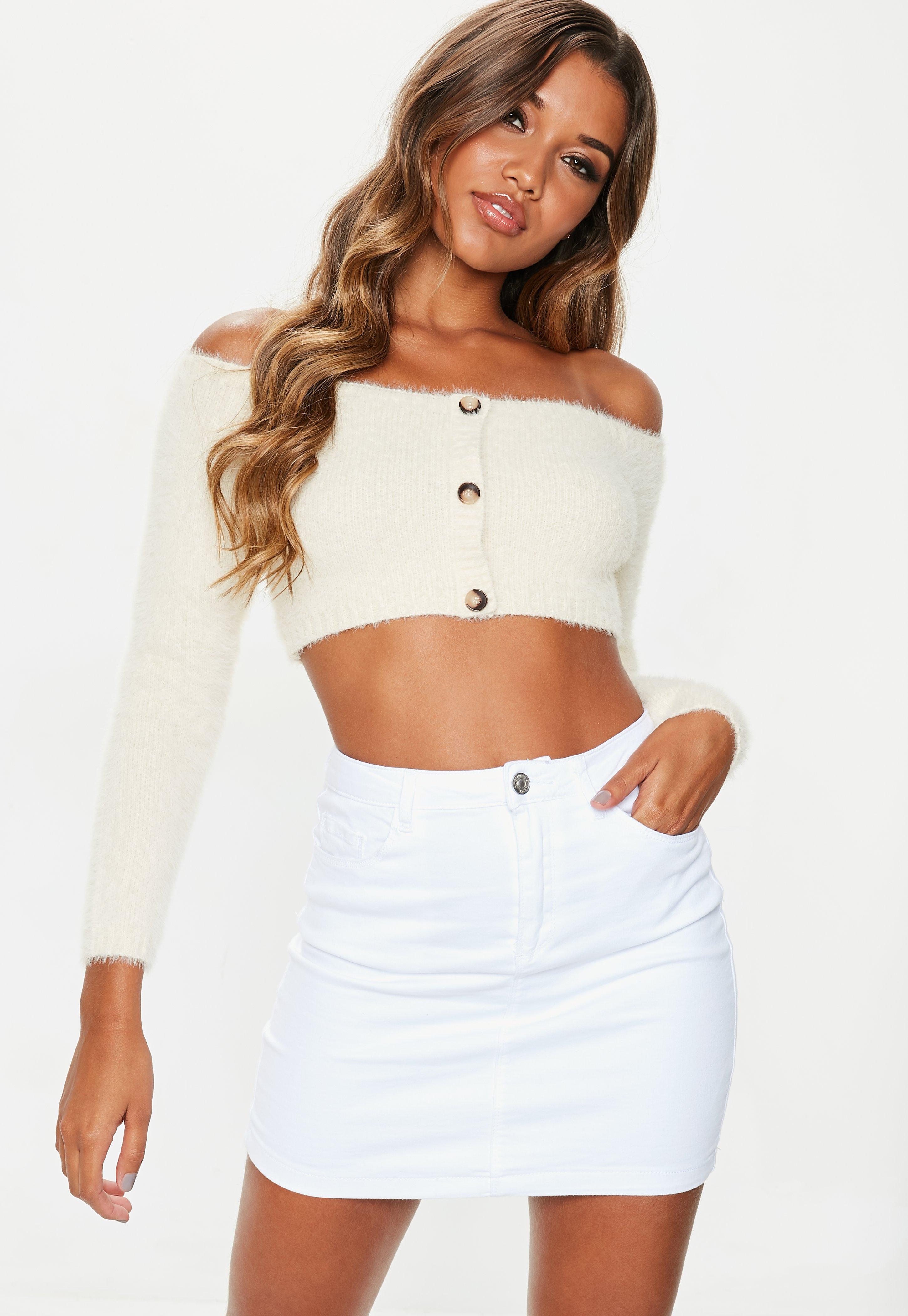 5912e752ff Missguided White Denim Superstretch Denim Mini Skirt in White - Lyst