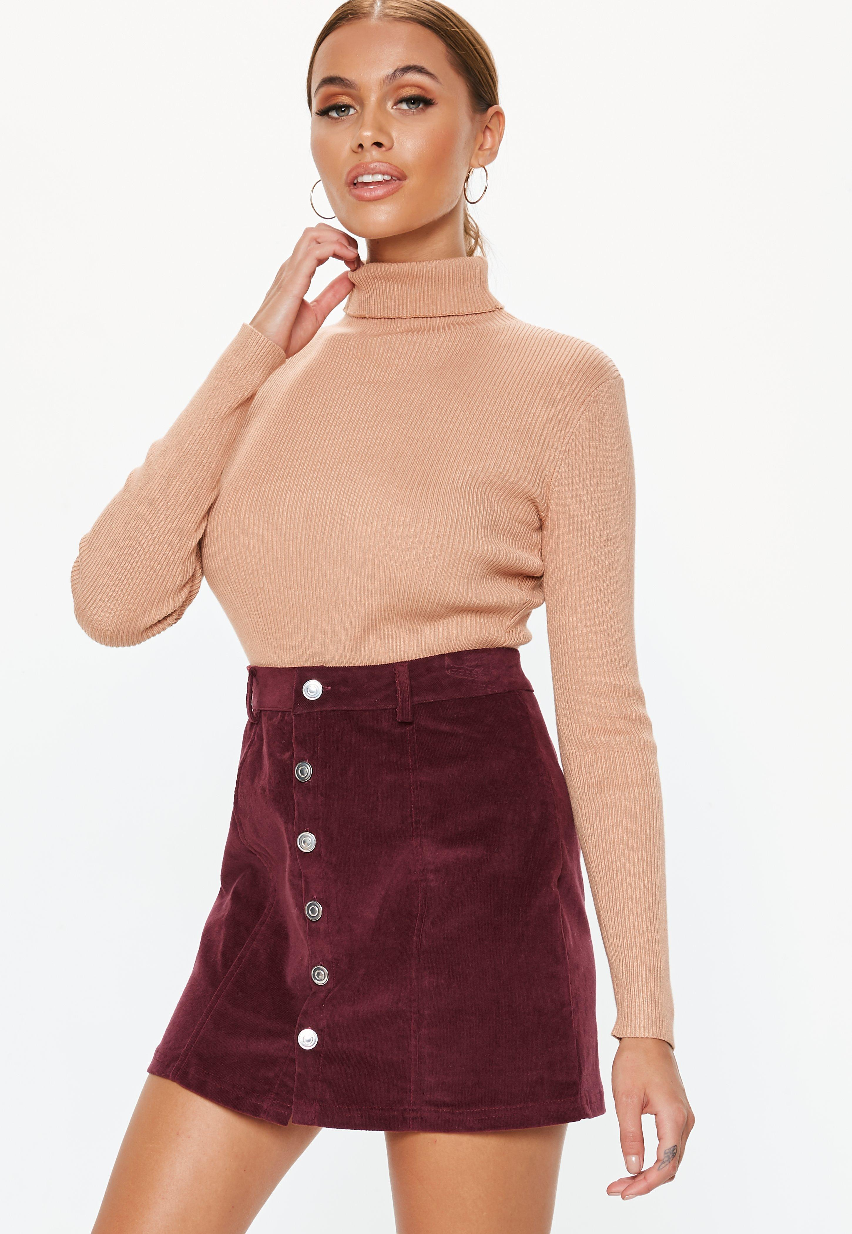 16a2ed1d2c Lyst - Missguided Plum Cord Button Mini Skirt in Purple