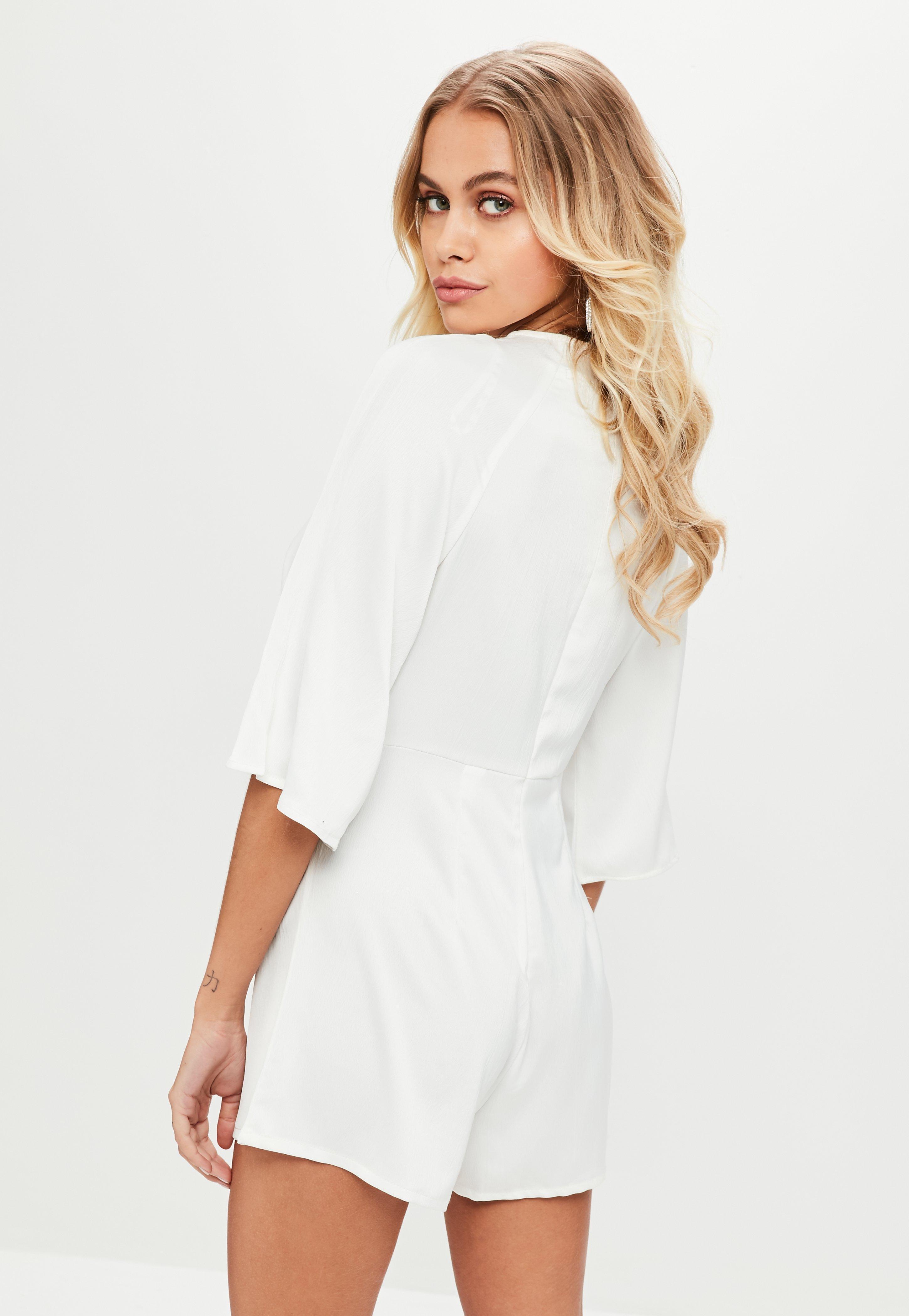 8e67374b0454 Lyst - Missguided White Tie Front Kimono Sleeve Romper in White