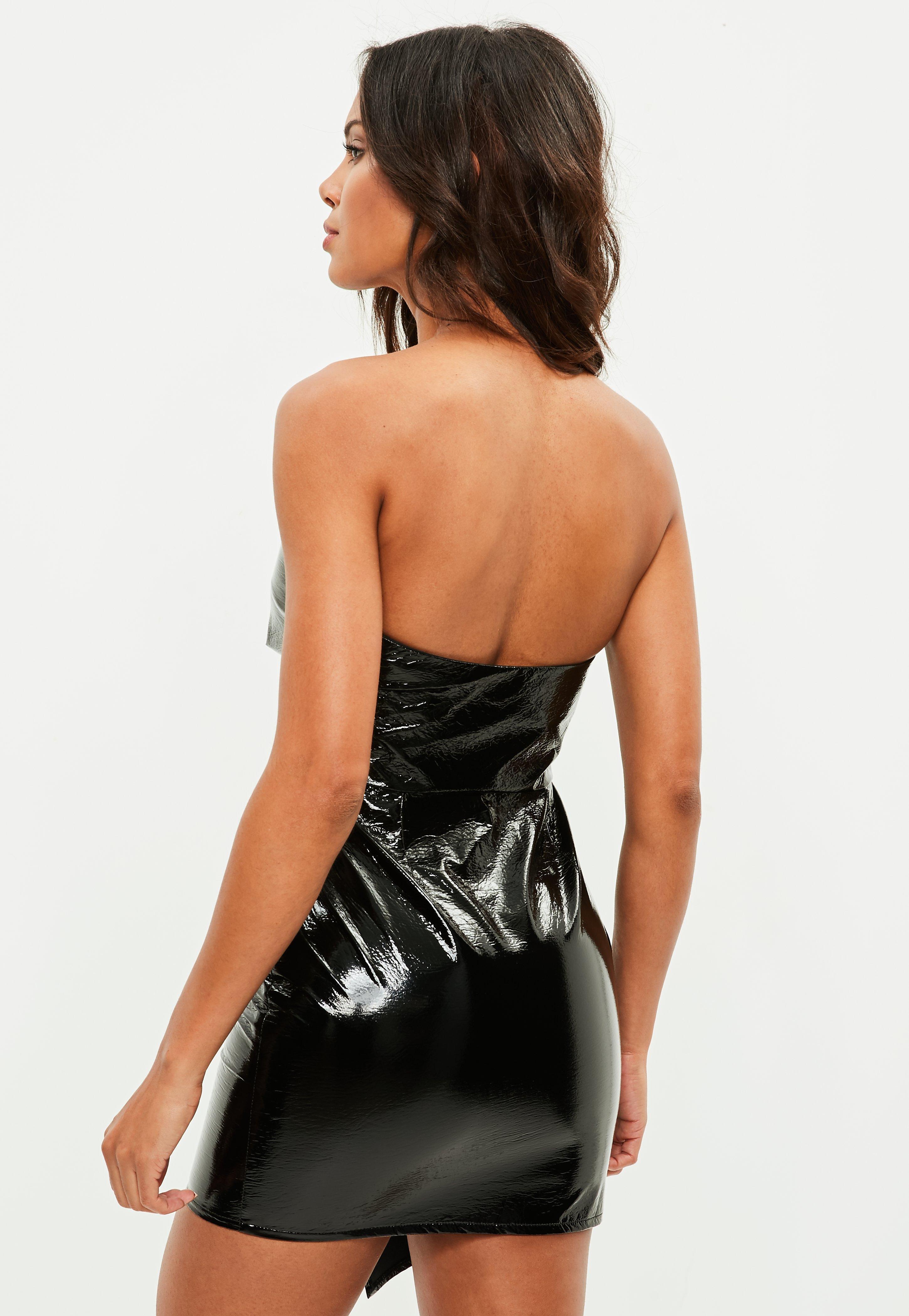 Missguided Synthetic Petite Black Vinyl Bandeau Mini Dress