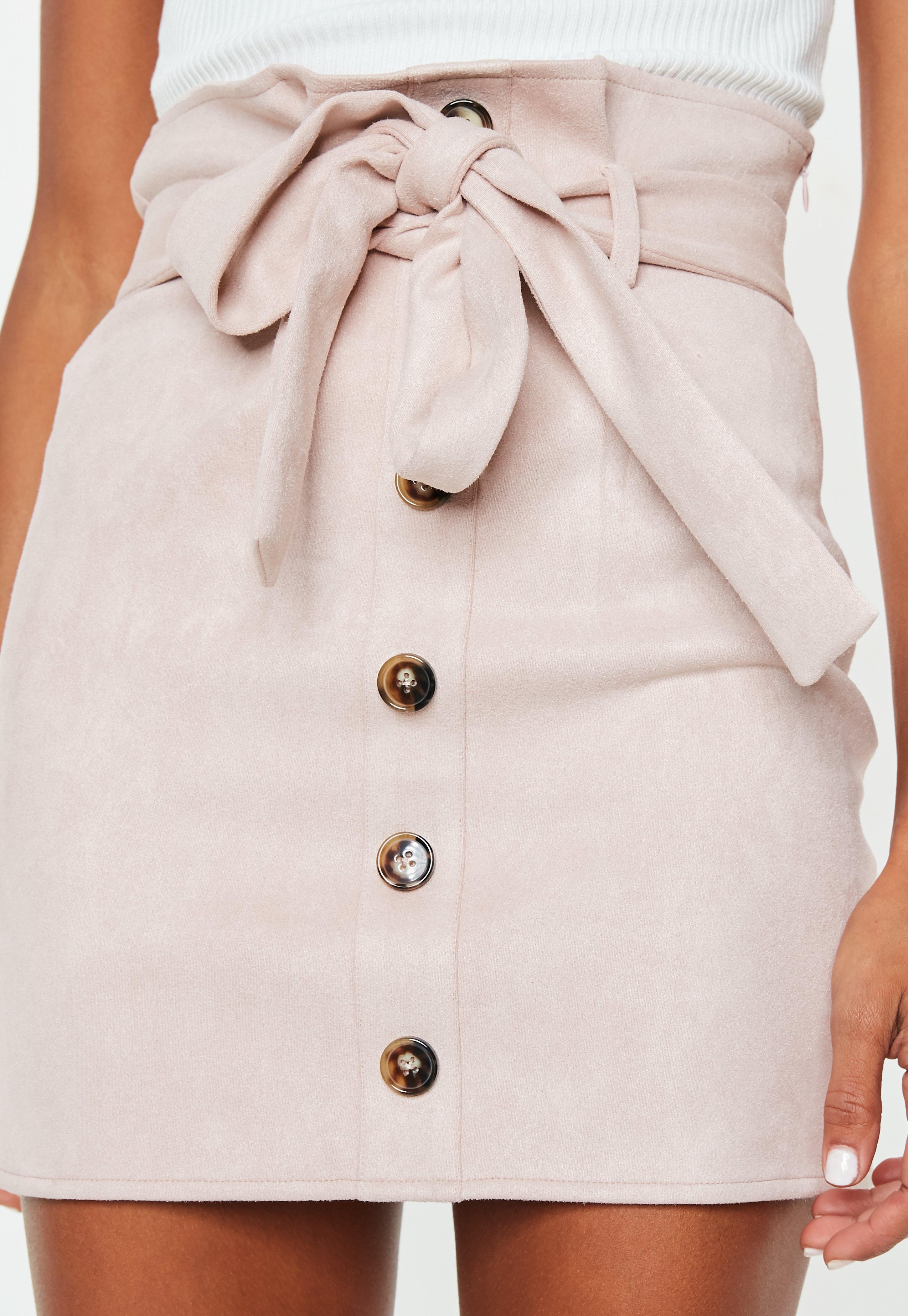 19dd131a18 ... Faux Suede Paperbag Waist Mini Skirt - Lyst. View fullscreen
