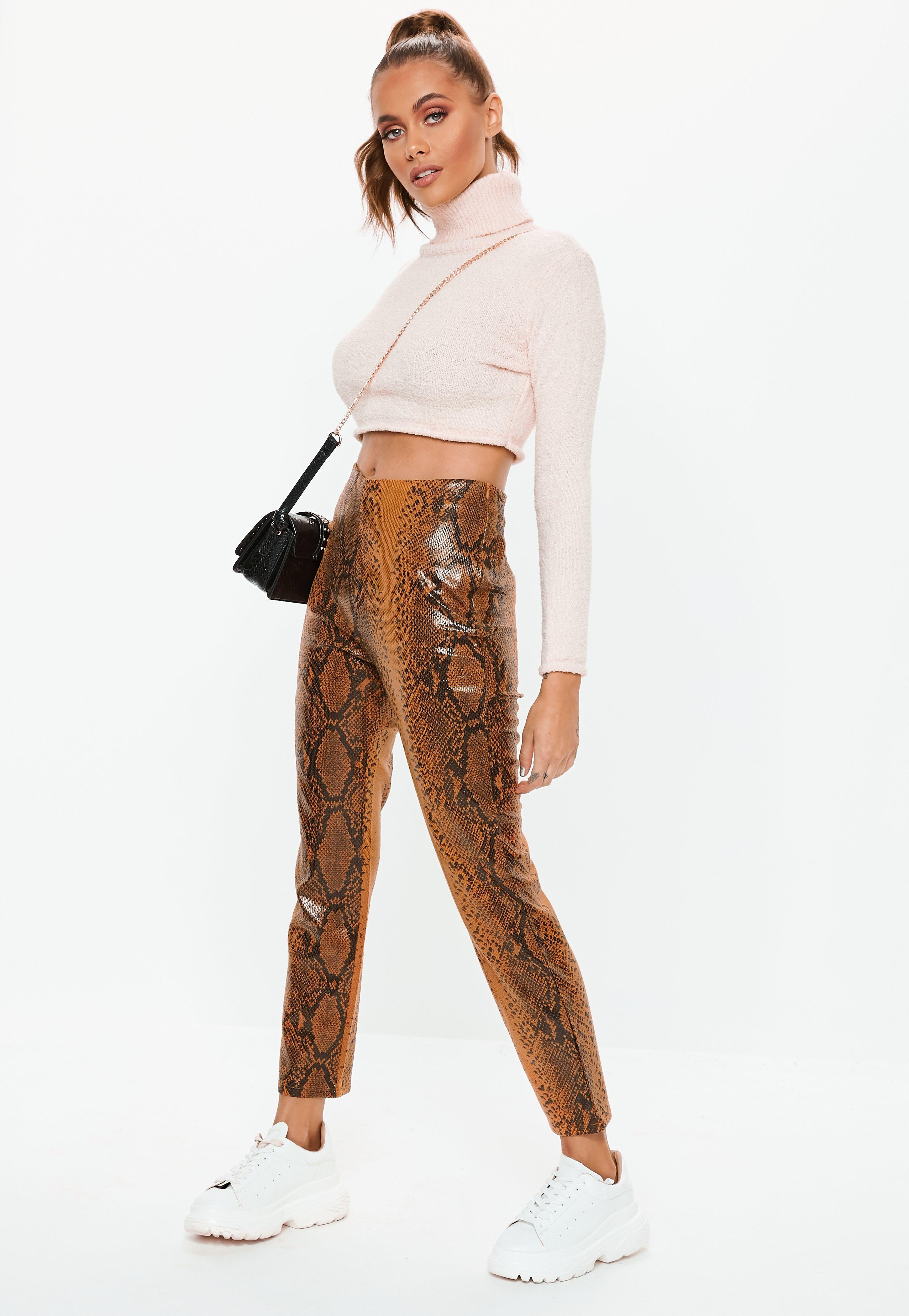 44c815f47fb68 Missguided - Brown Faux Leather Snake Print Cigarette Trousers - Lyst. View  fullscreen