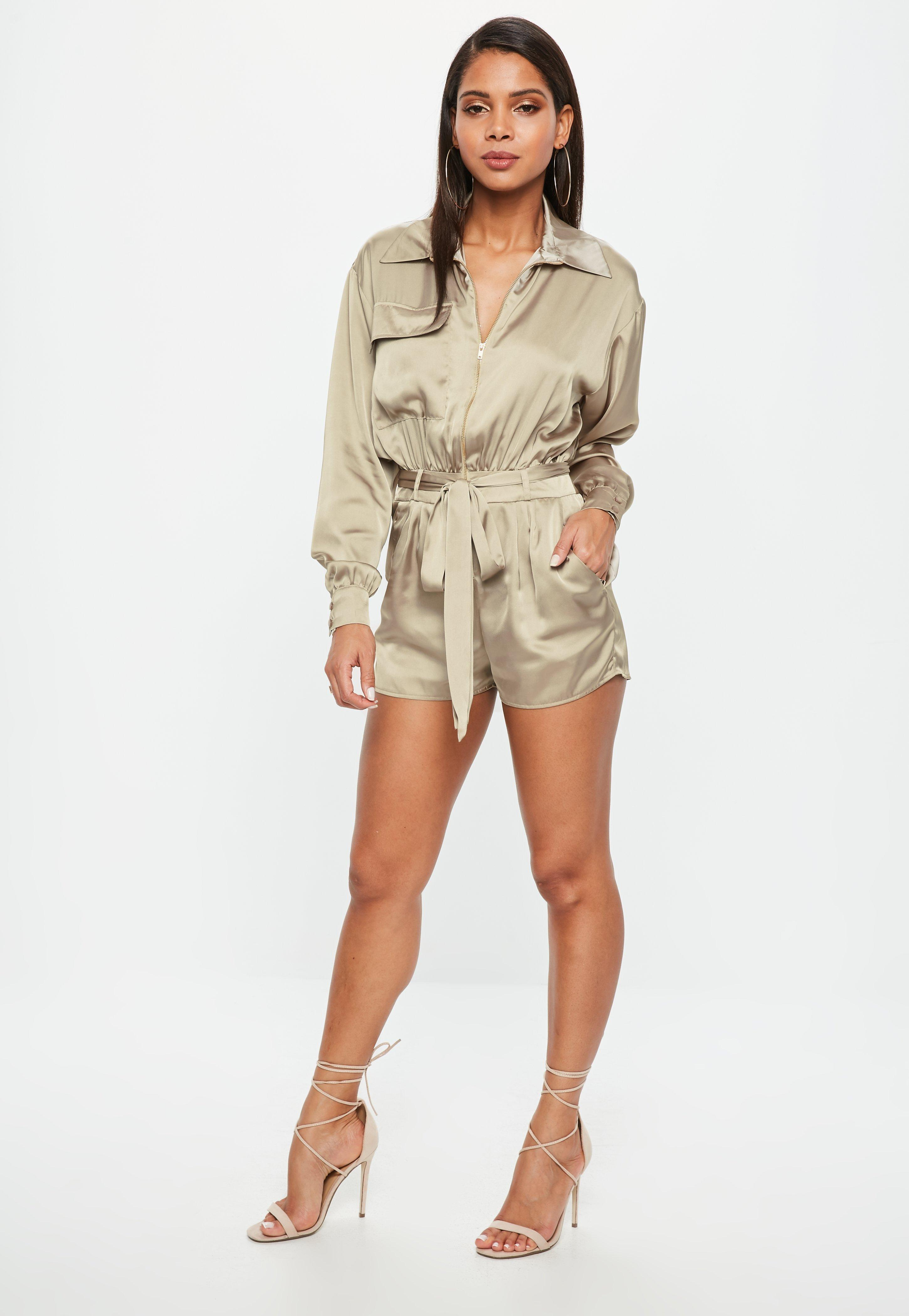 b3624a93c31f Missguided Khaki Satin Long Sleeve Utility Belted Playsuit in ...