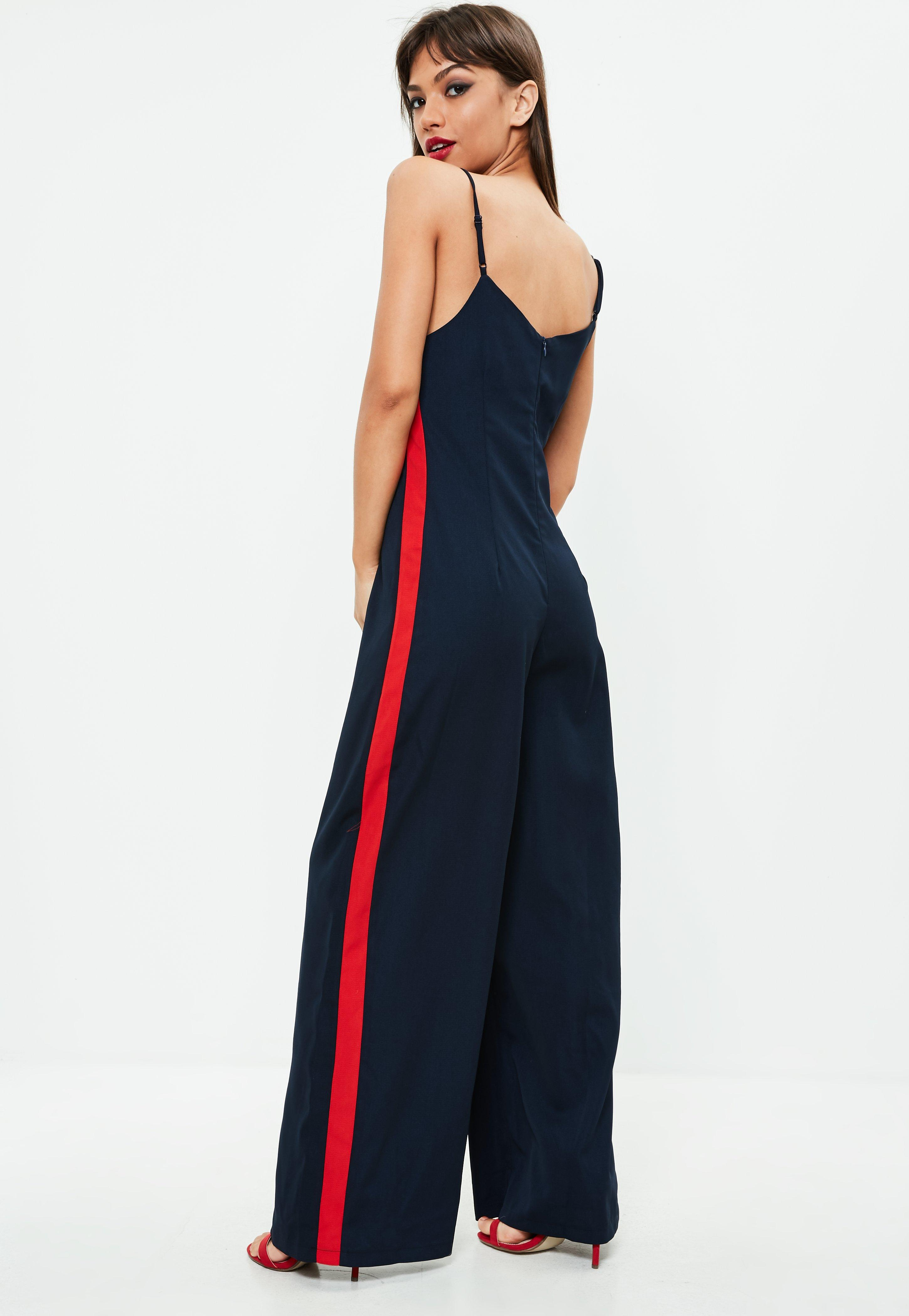 cab338acd1db Lyst - Missguided Navy Wide Leg Red Stripe Jumpsuit in Blue
